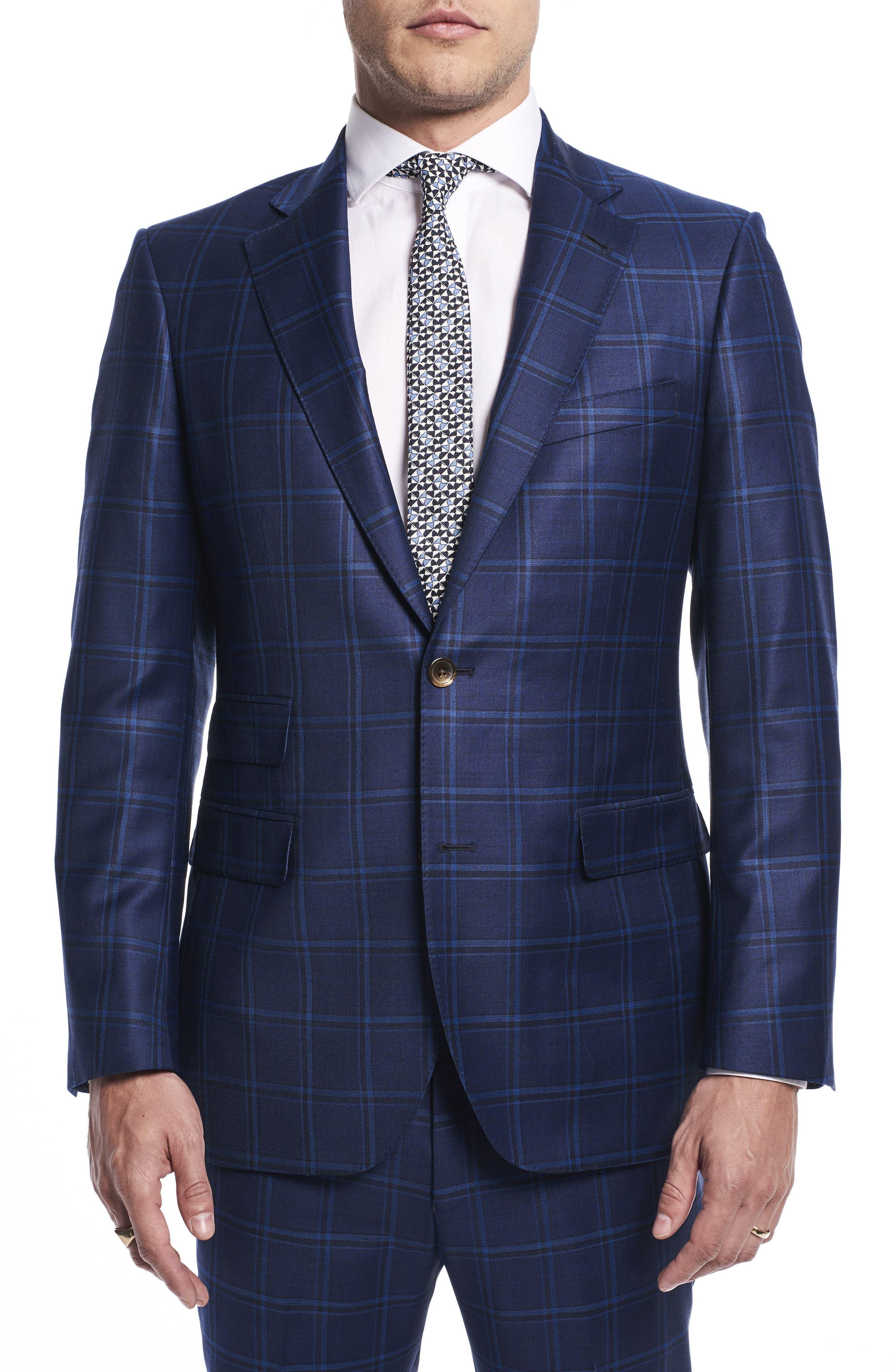 by Ilaria Urbinati Kilgore Slim Fit Plaid Wool Suit,                             Alternate thumbnail 3, color,                             Marine Windowpane
