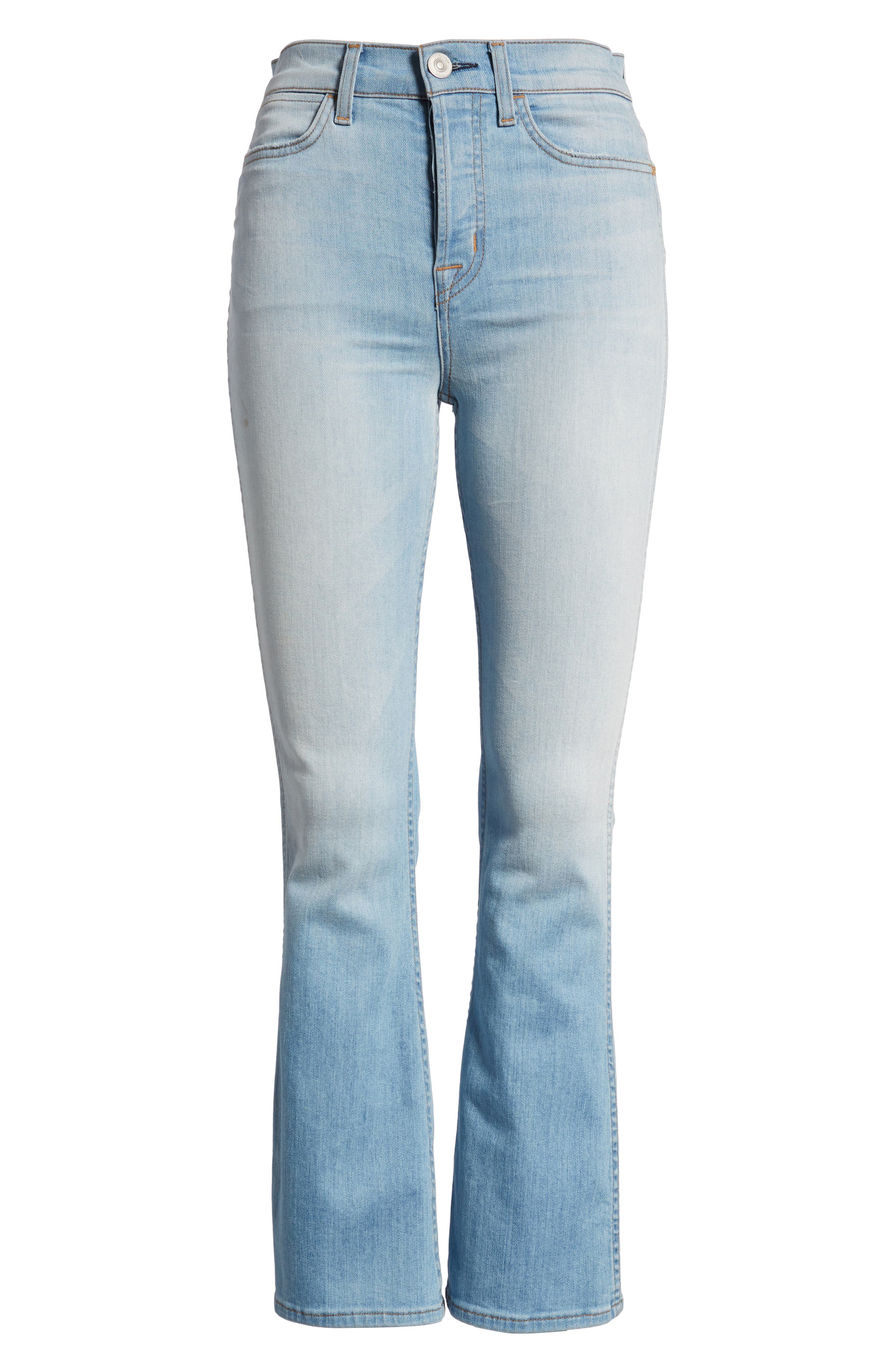 Holly High Waist Crop Flare Jeans,                             Alternate thumbnail 7, color,                             Closer