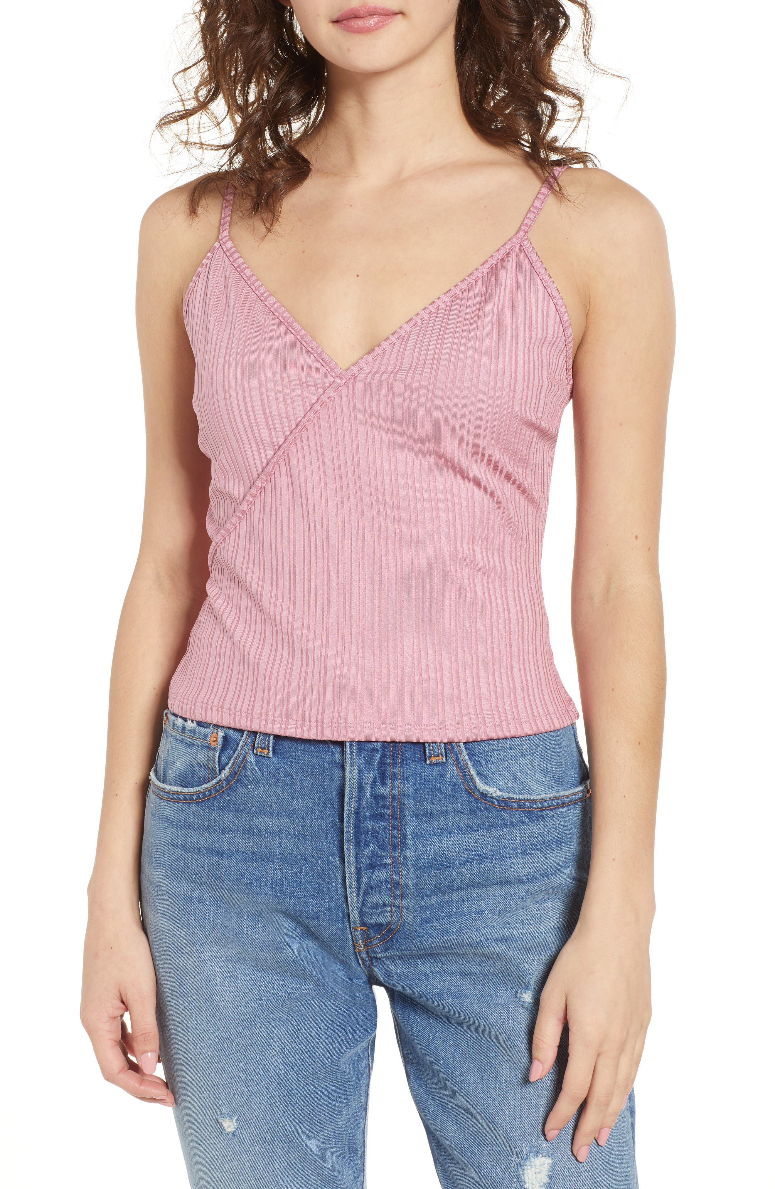Rib Surplice Camisole,                         Main,                         color, Pink