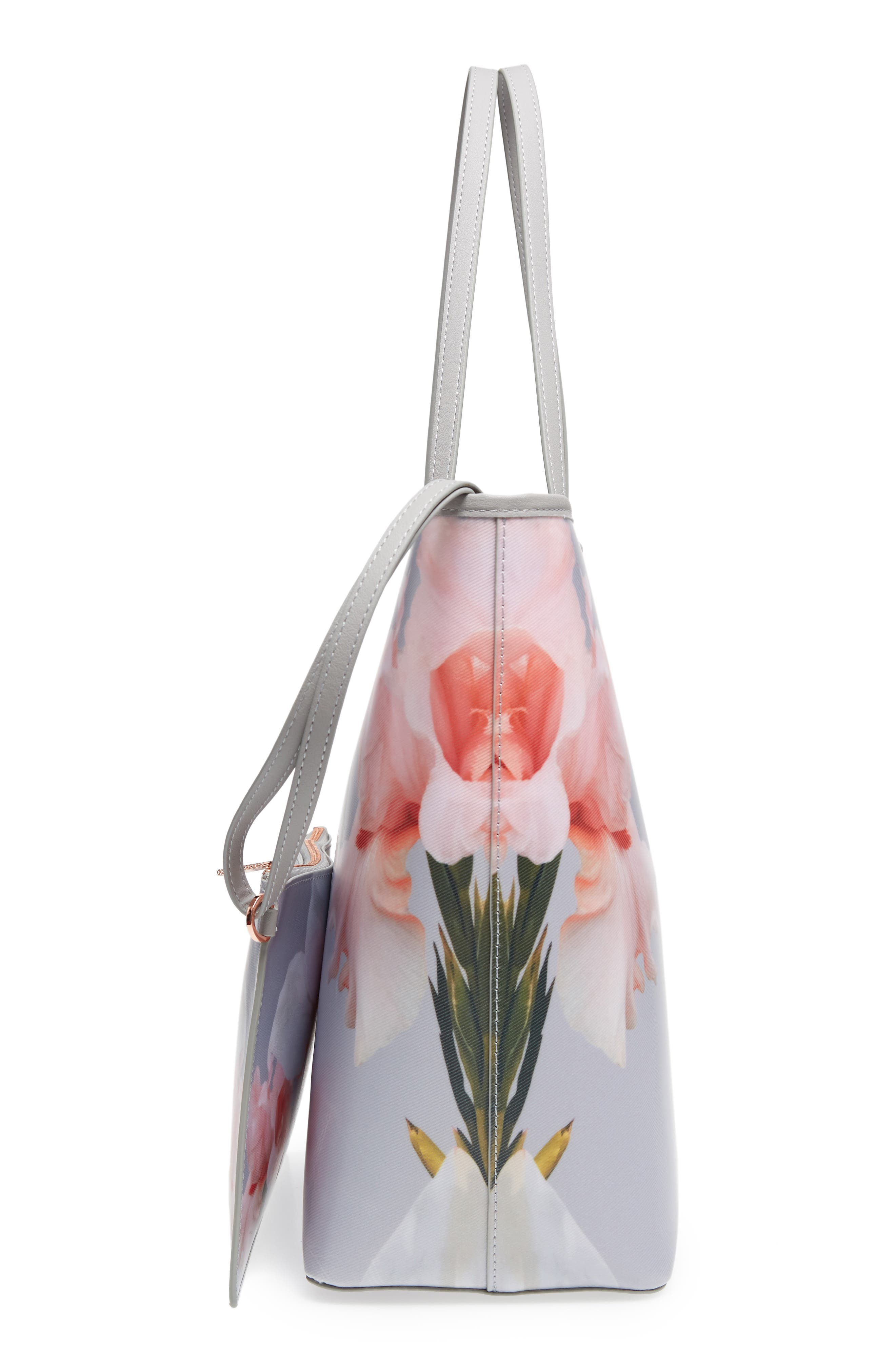 Cecie Chatsworth Bloom Canvas Tote,                             Alternate thumbnail 5, color,                             Mid Grey