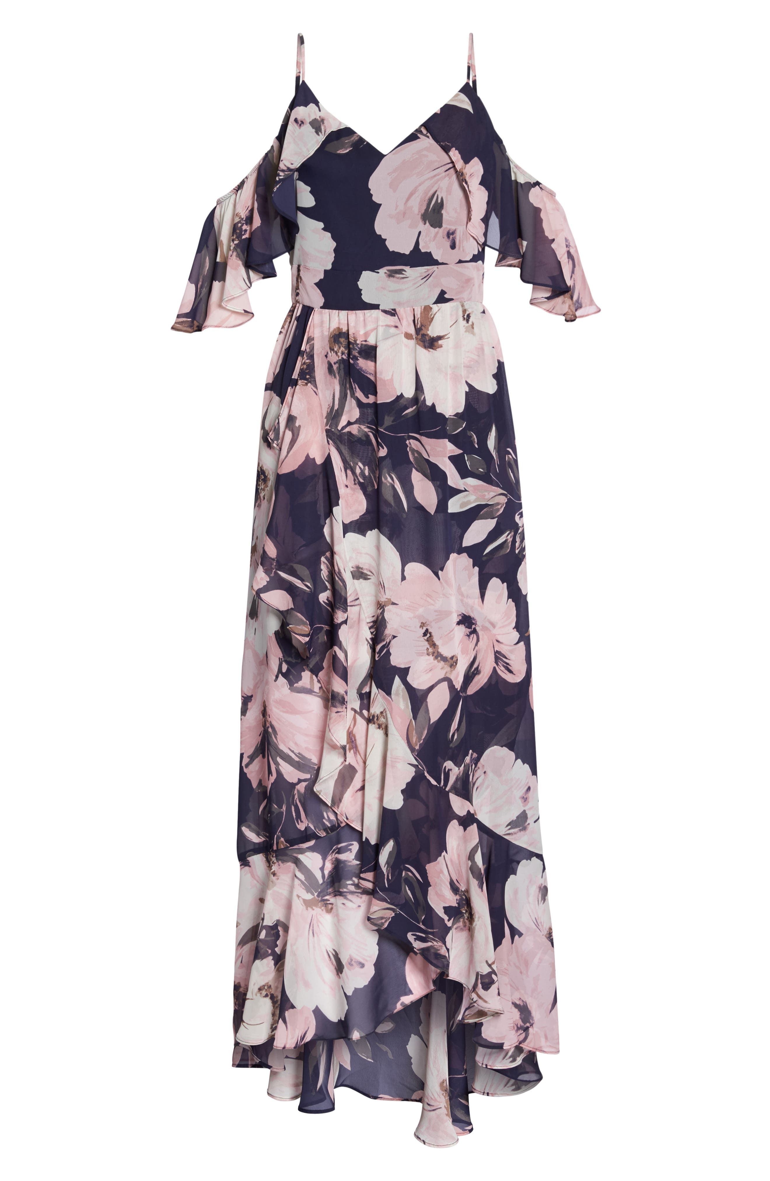 Print Cold Shoulder Chiffon Maxi Dress,                             Alternate thumbnail 6, color,                             Navy Multi
