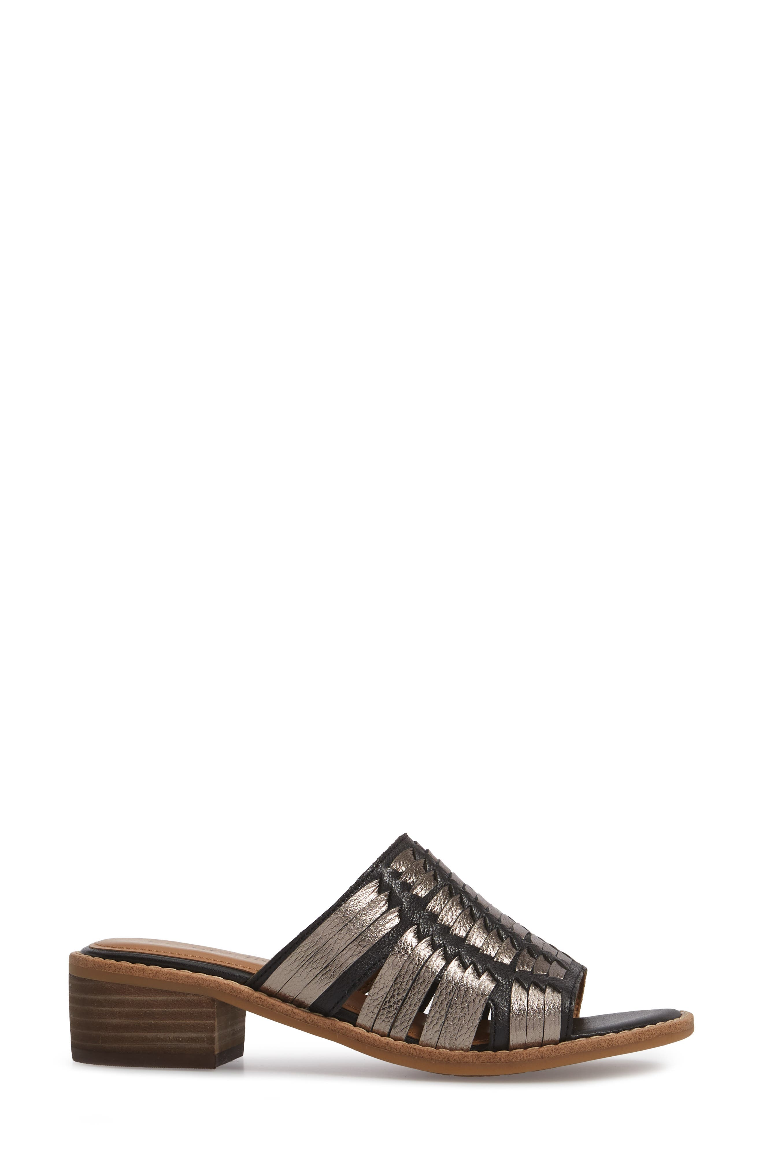 Brileigh Slide Sandal,                             Alternate thumbnail 3, color,                             Black Leather