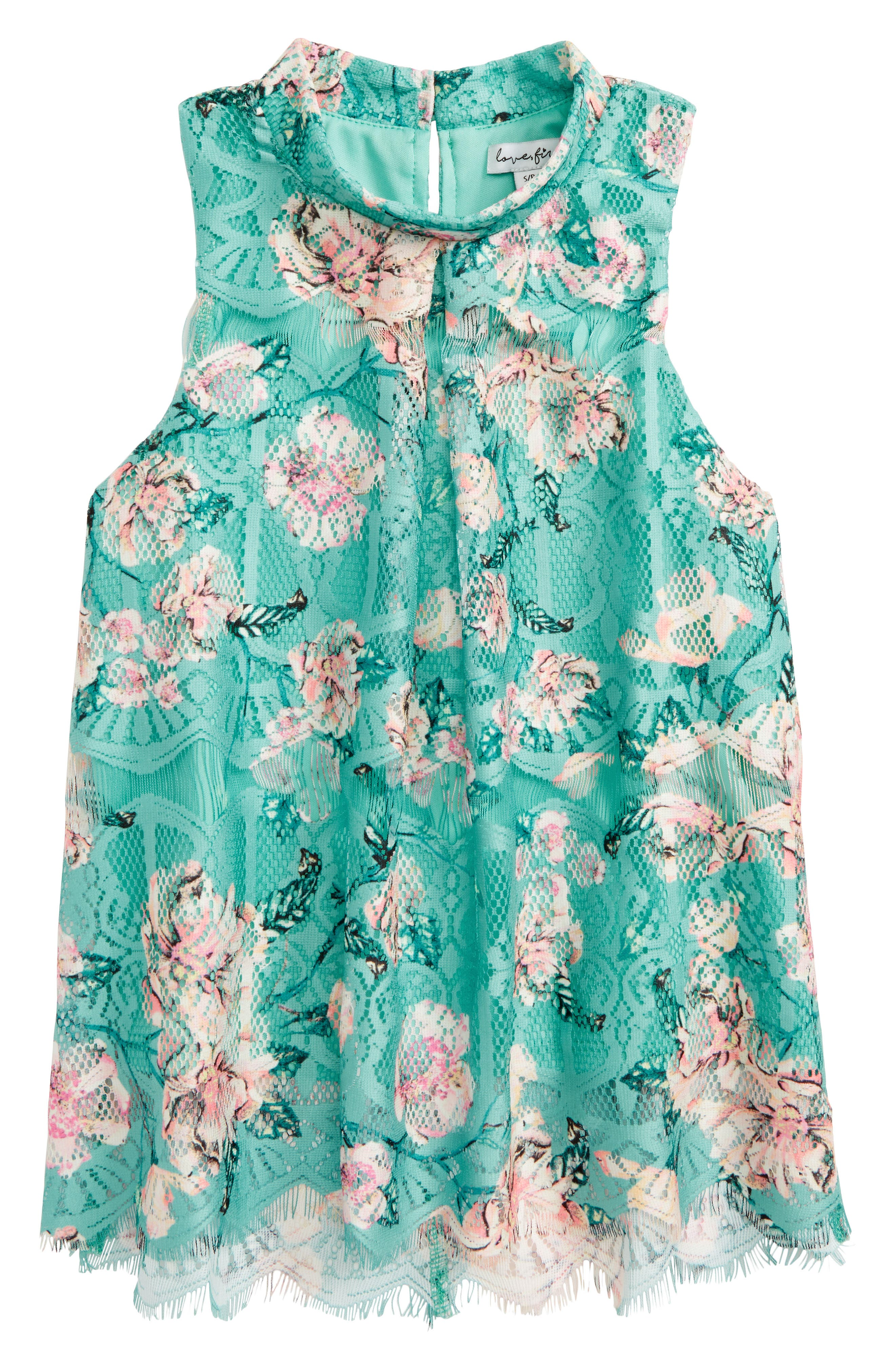 Floral Lace Swing Top,                         Main,                         color, Mint