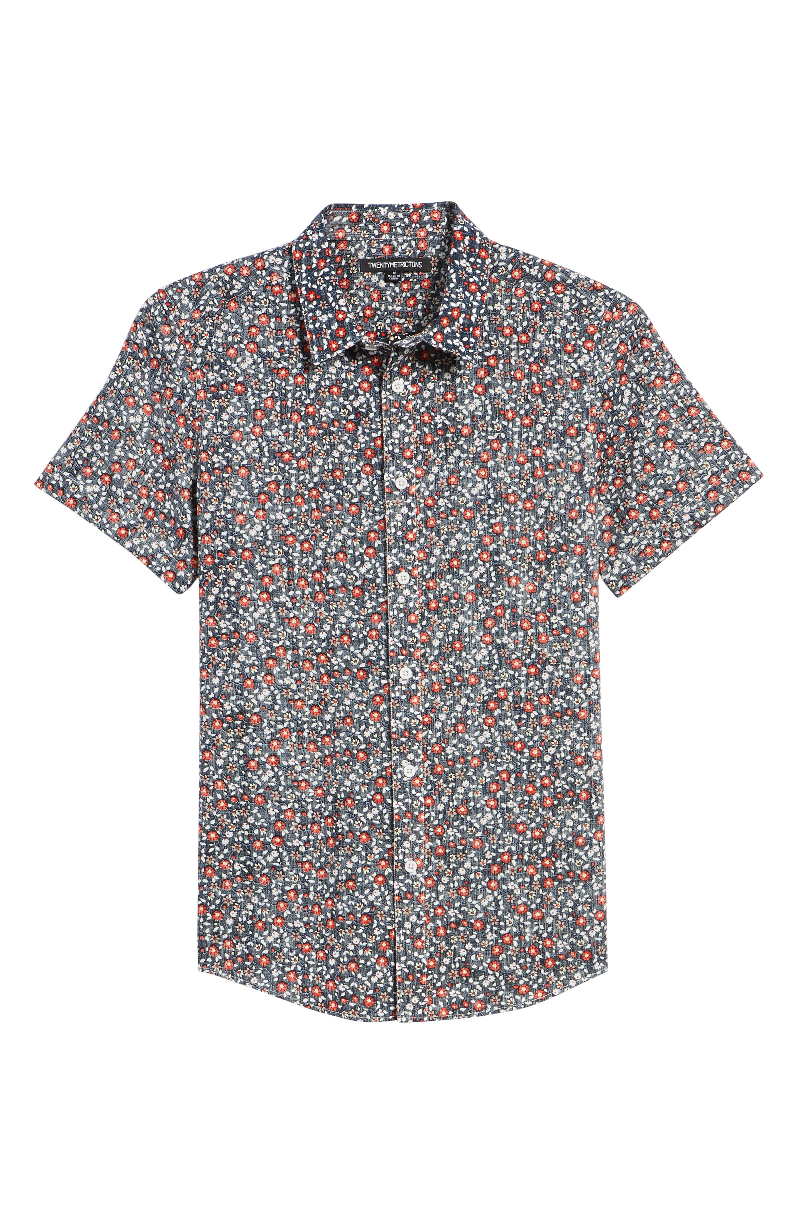 Trim Fit Print Woven Short Sleeve Shirt,                             Alternate thumbnail 6, color,                             Navy Floral