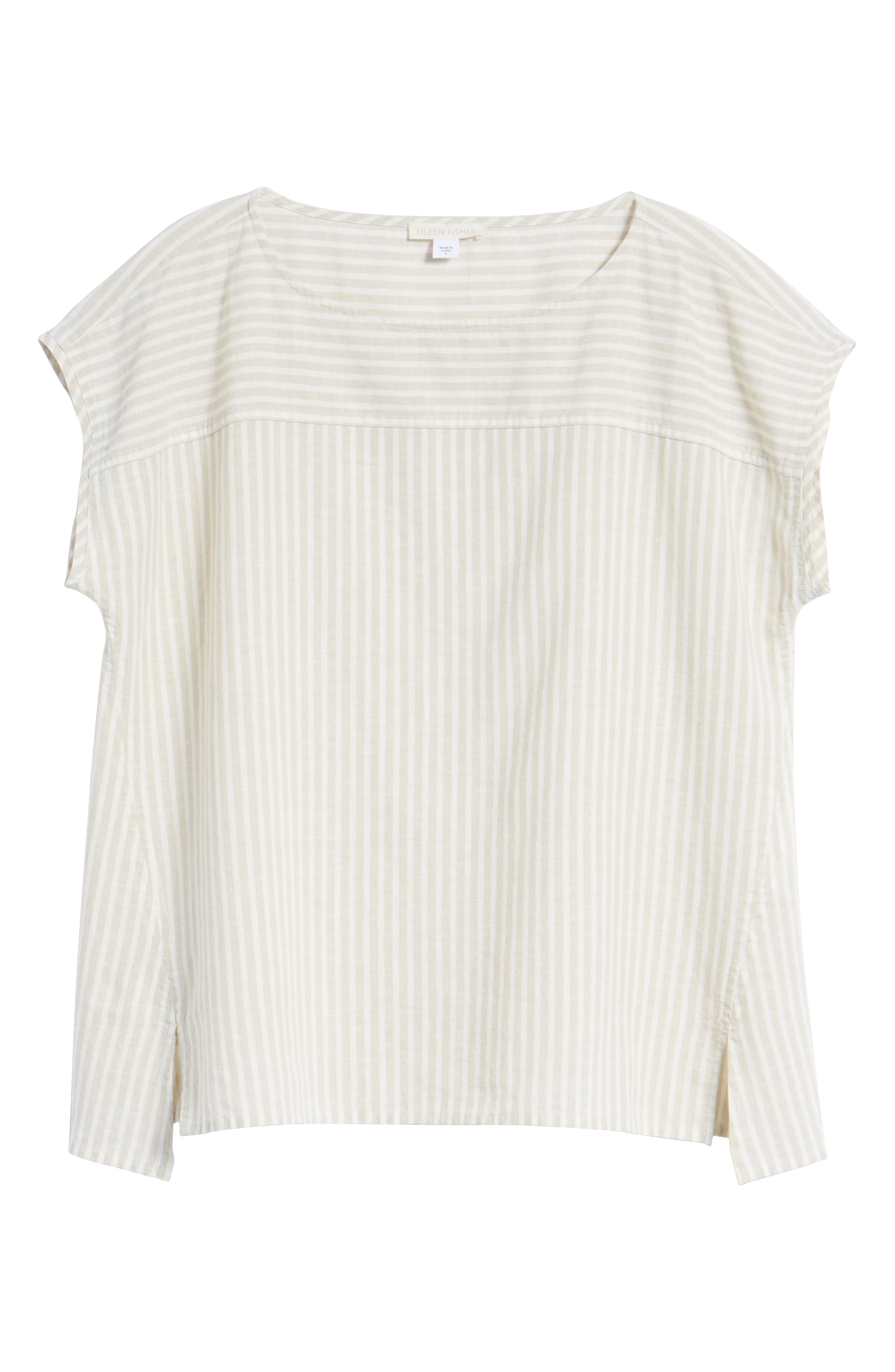 Stripe Hemp & Organic Cotton Swing Top,                             Alternate thumbnail 7, color,                             Natural