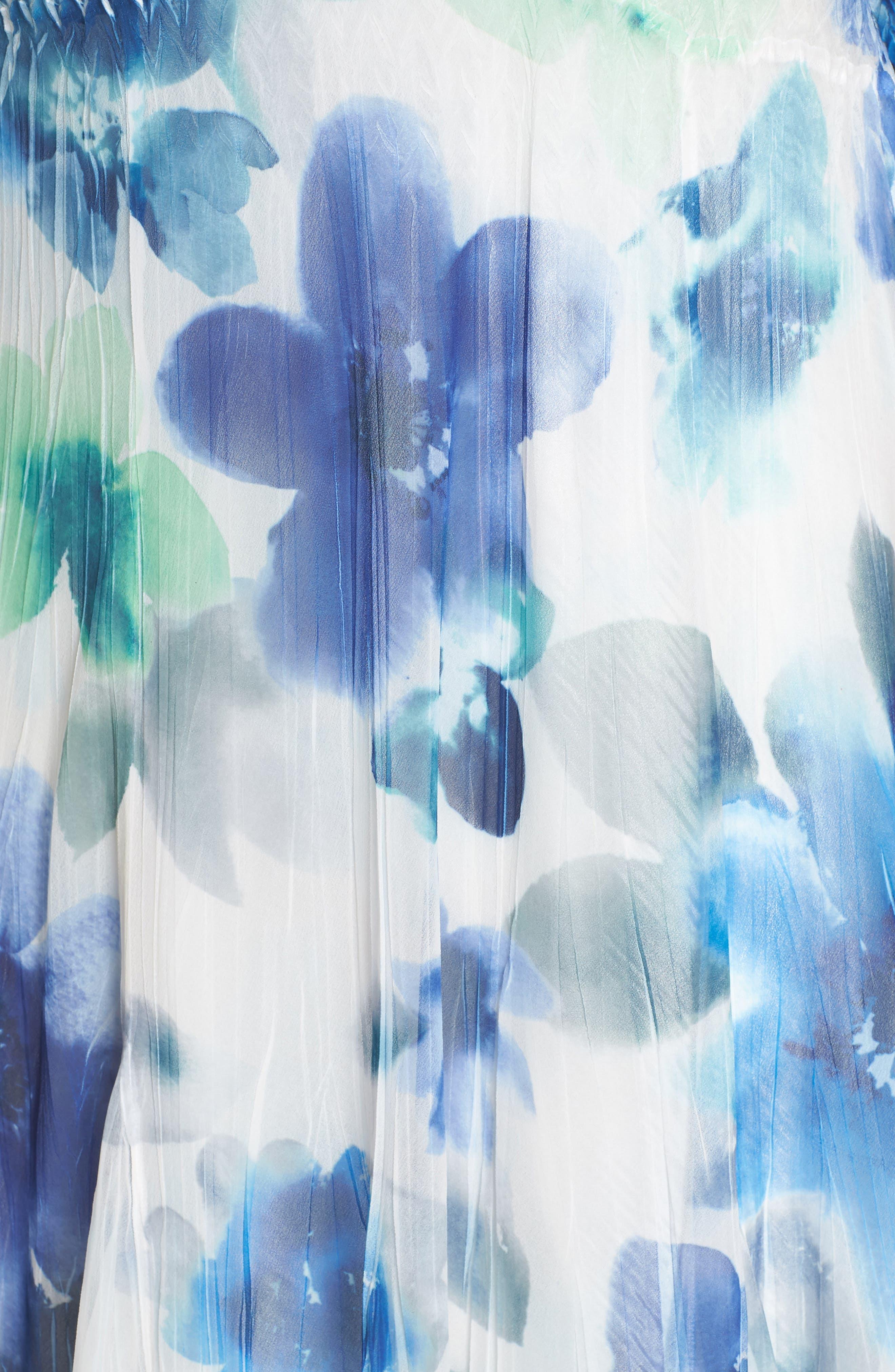 Floral Chiffon A-Line Dress,                             Alternate thumbnail 5, color,                             Azure Meadow
