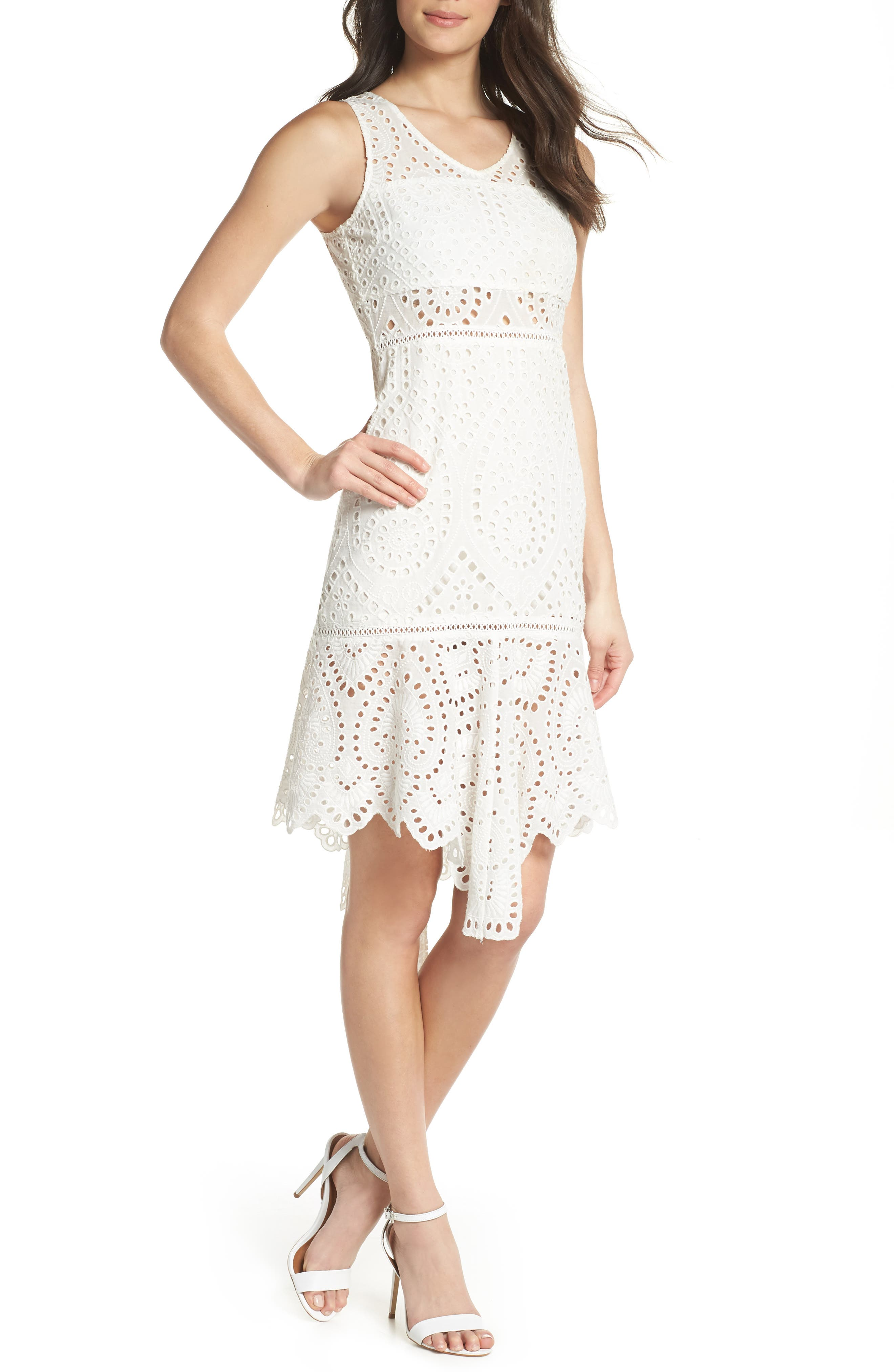 Asymmetric Hem Eyelet Dress,                             Main thumbnail 1, color,                             White
