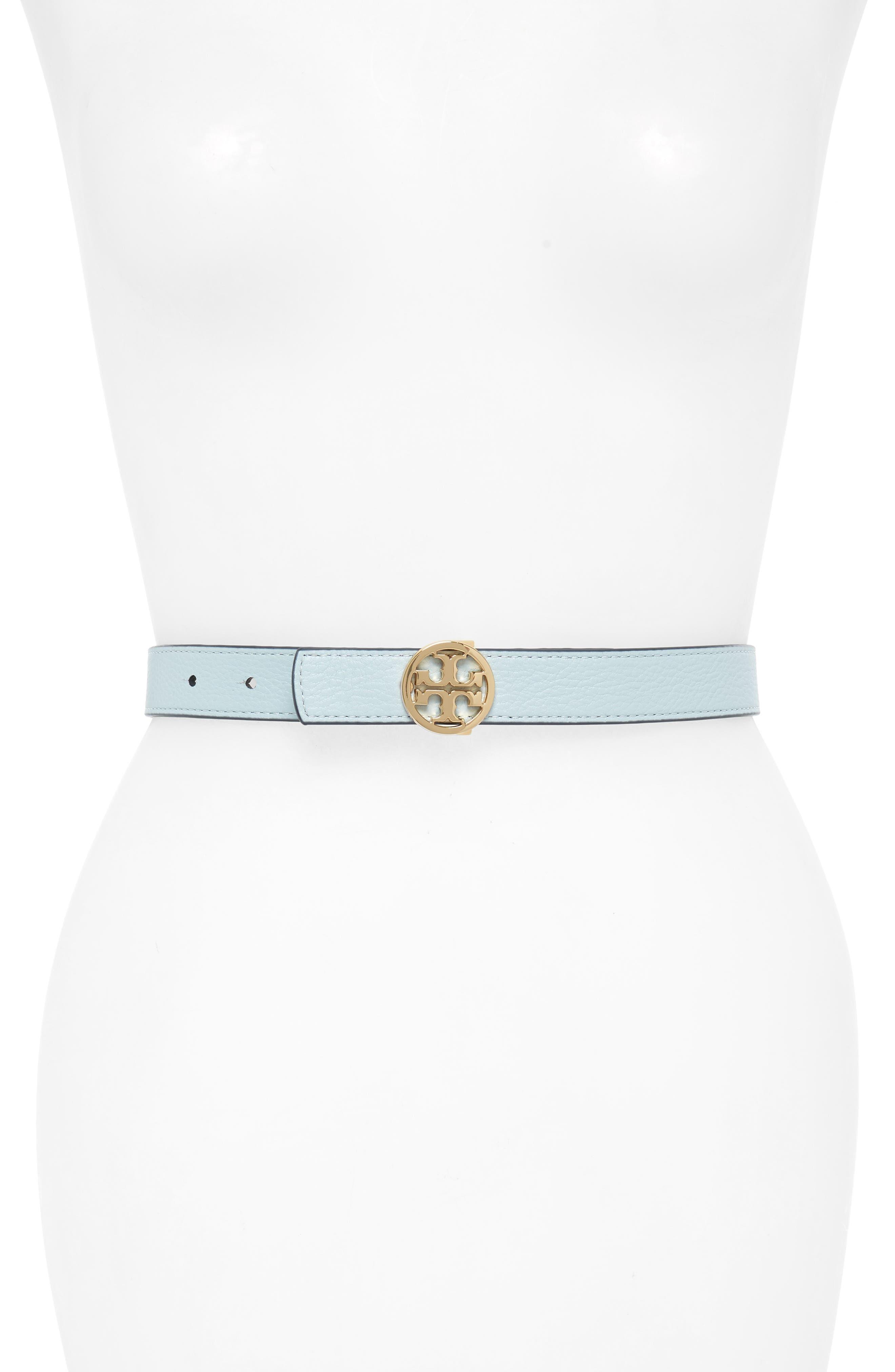 Reversible Logo Leather Belt,                             Alternate thumbnail 2, color,                             Royal Navy/ Seltzer