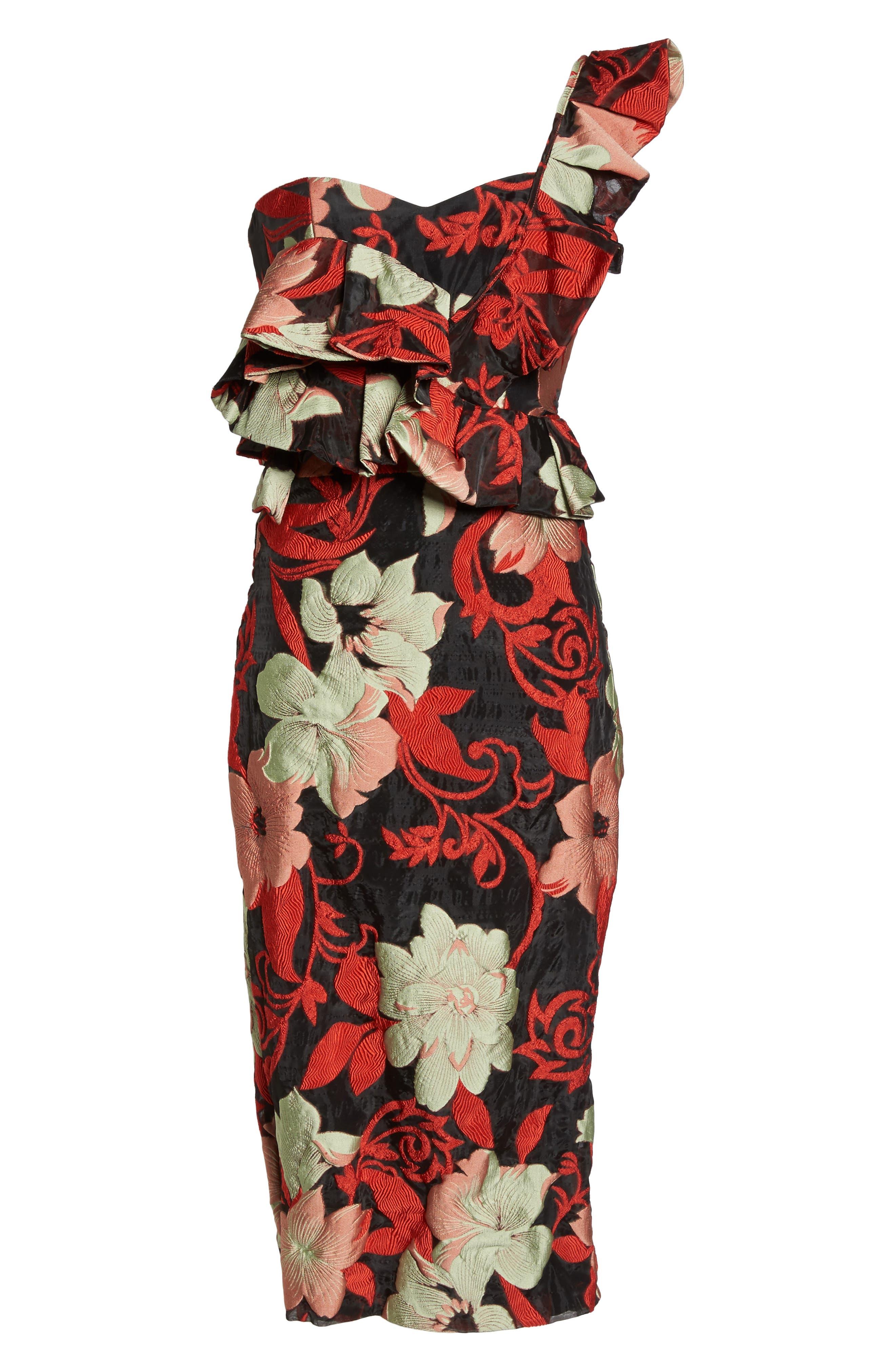 Katalina One-Shoulder Midi Dress,                             Alternate thumbnail 6, color,                             Magnolia Multi