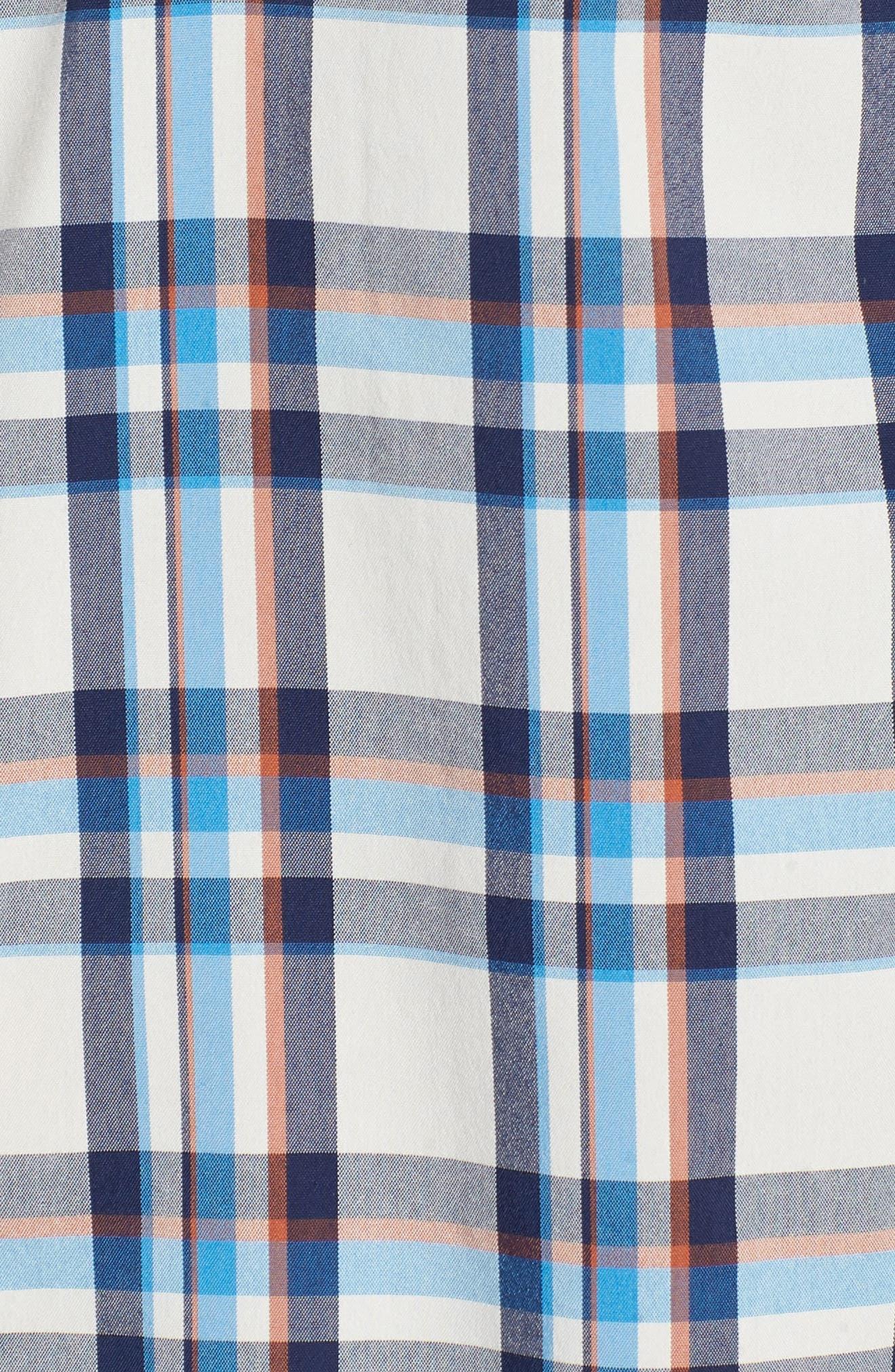 High Moss Regular Fit Short Sleeve Sport Shirt,                             Alternate thumbnail 5, color,                             Anchor/ Birch White