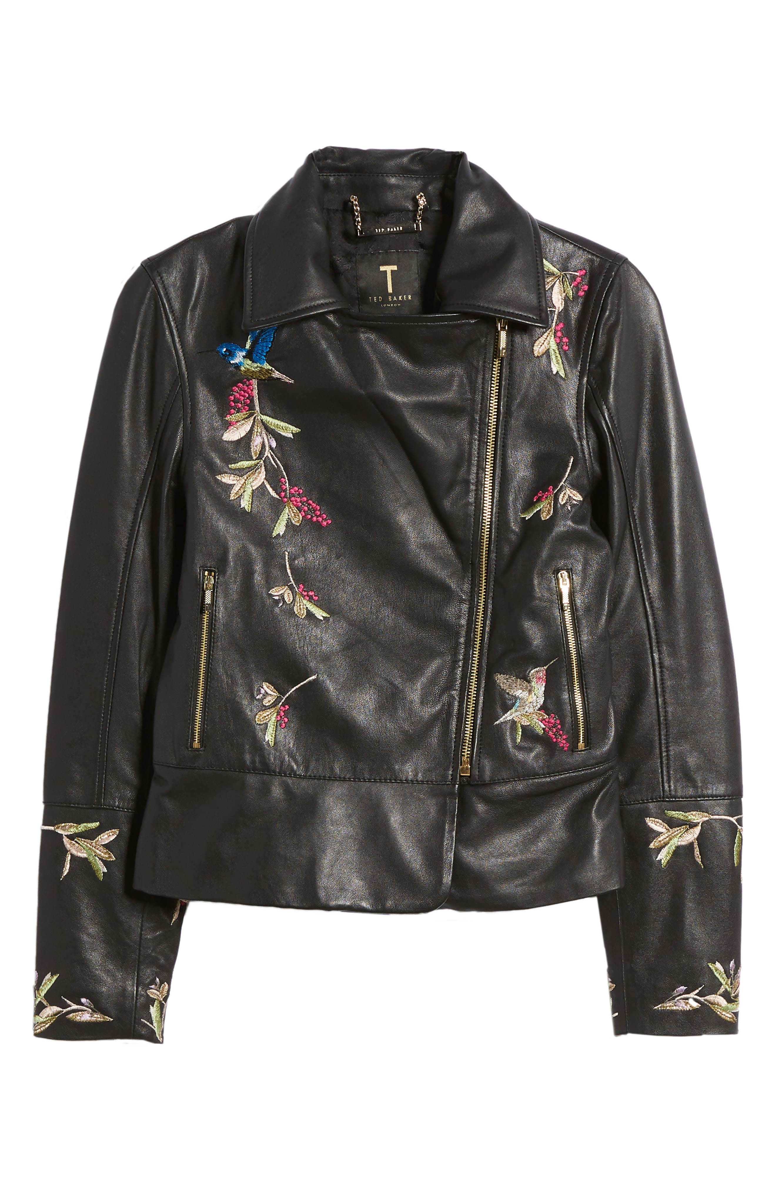 Highgrove Leather BIker Jacket,                             Alternate thumbnail 7, color,                             Black
