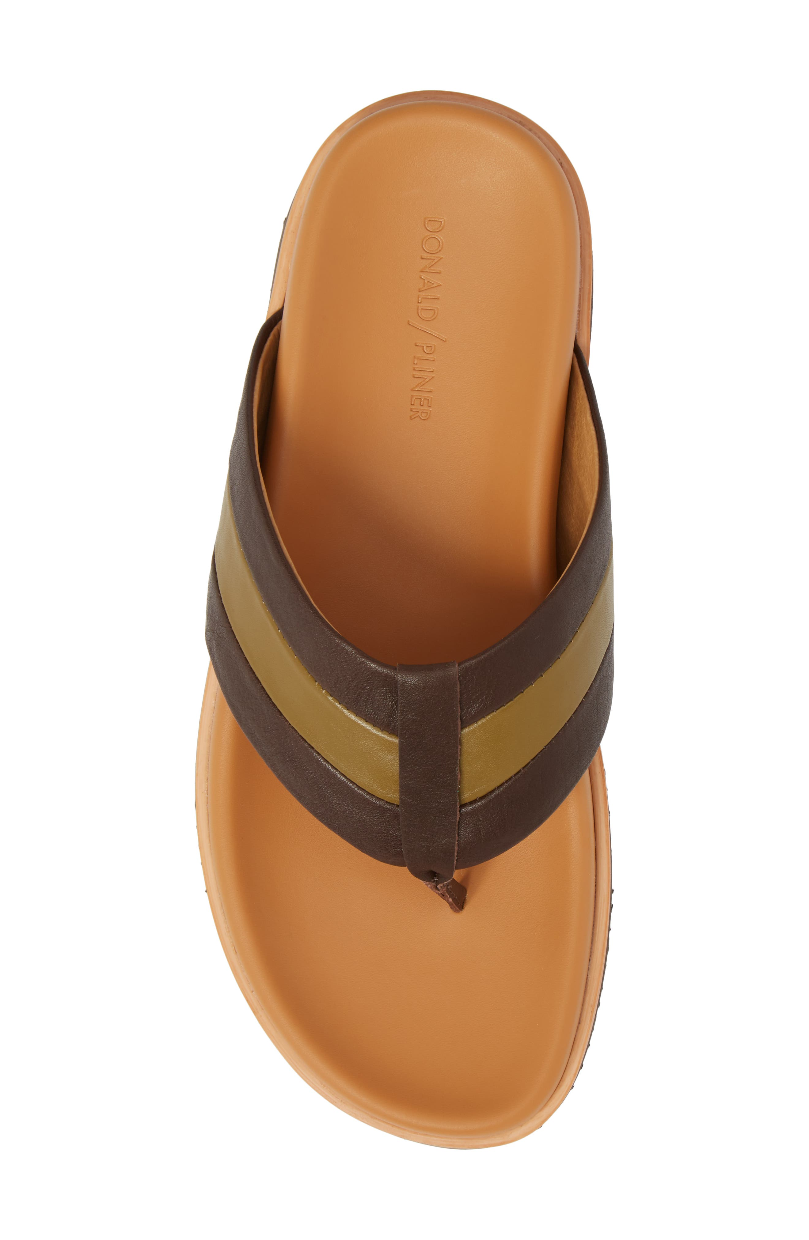 Bryce Striped Flip Flop,                             Alternate thumbnail 5, color,                             Brown/ Tan Leather
