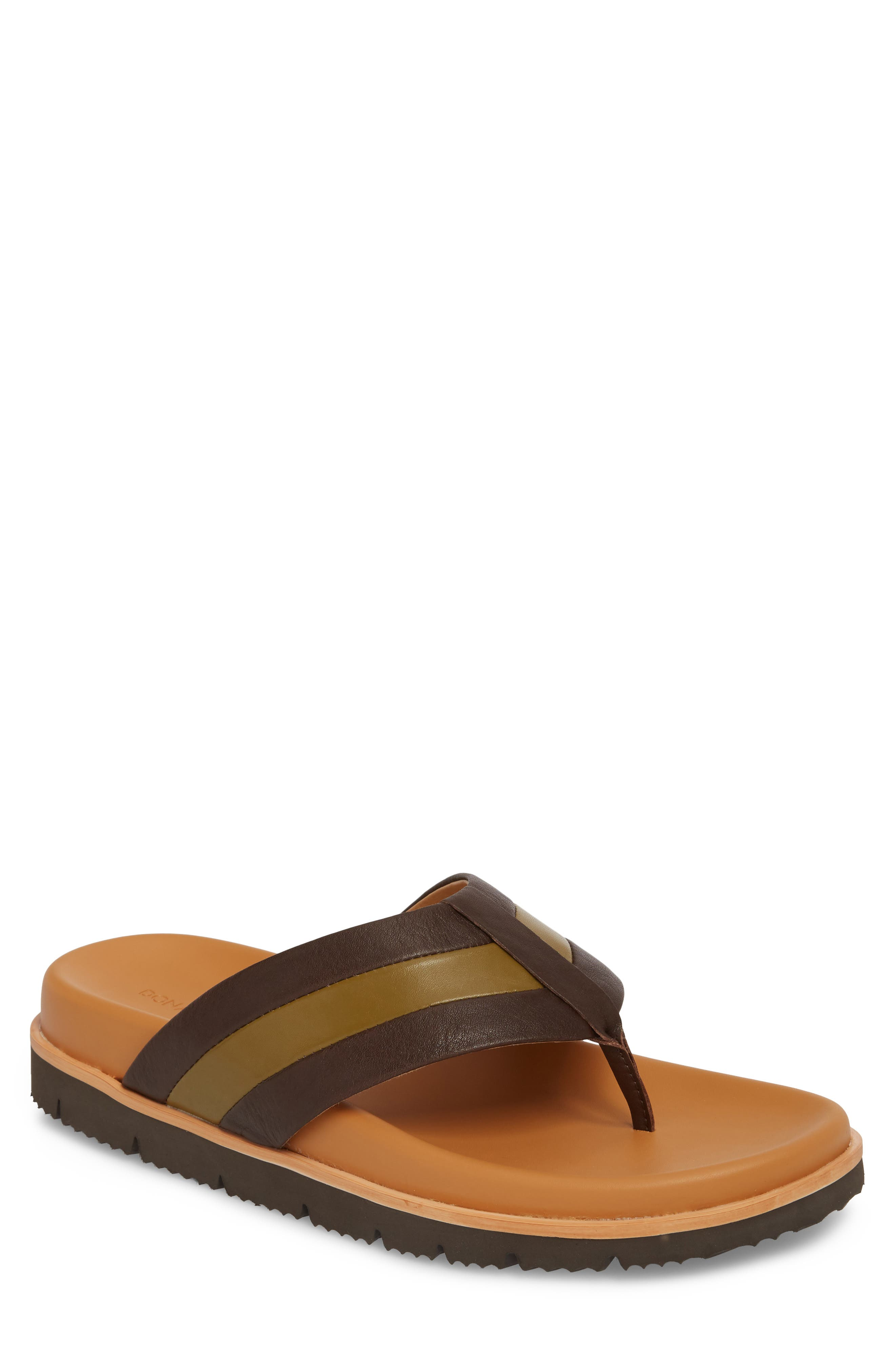 Bryce Striped Flip Flop,                             Main thumbnail 1, color,                             Brown/ Tan Leather