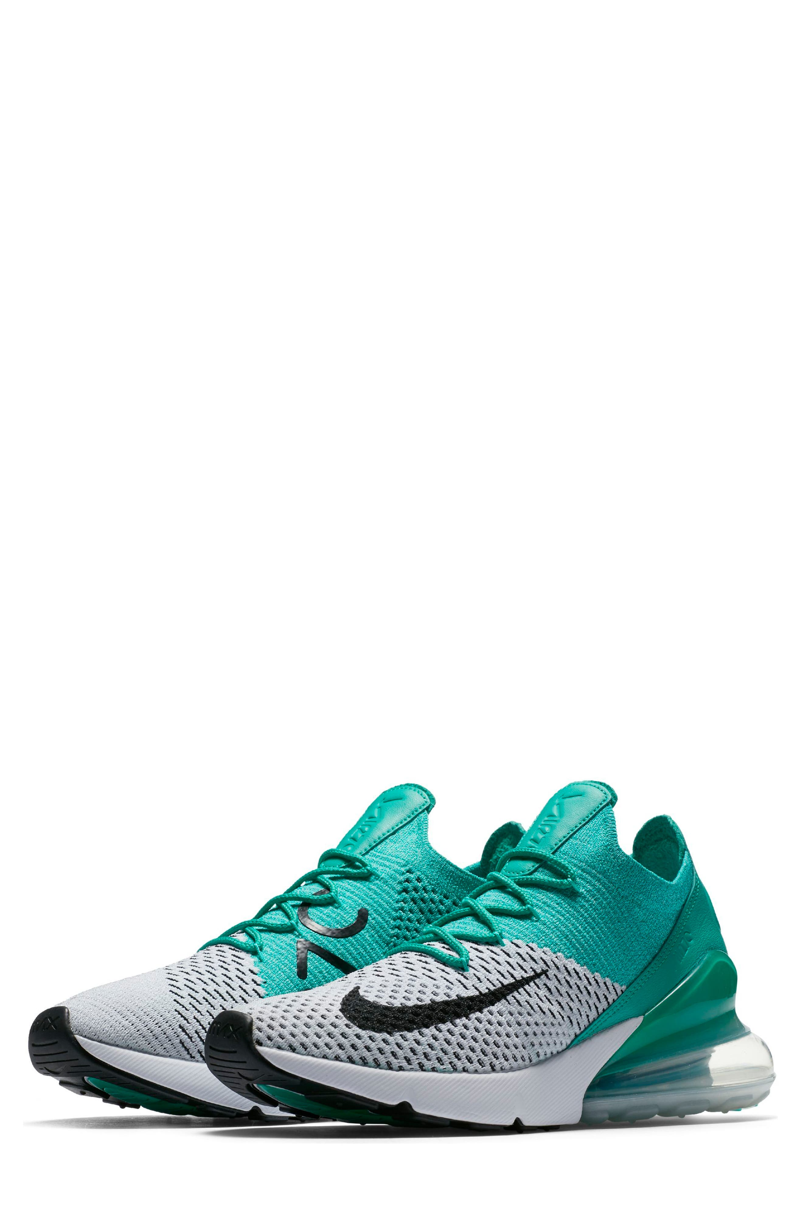 Air Max 270 Flyknit Sneaker,                         Main,                         color, Emerald/ Black/ Pure Platinum