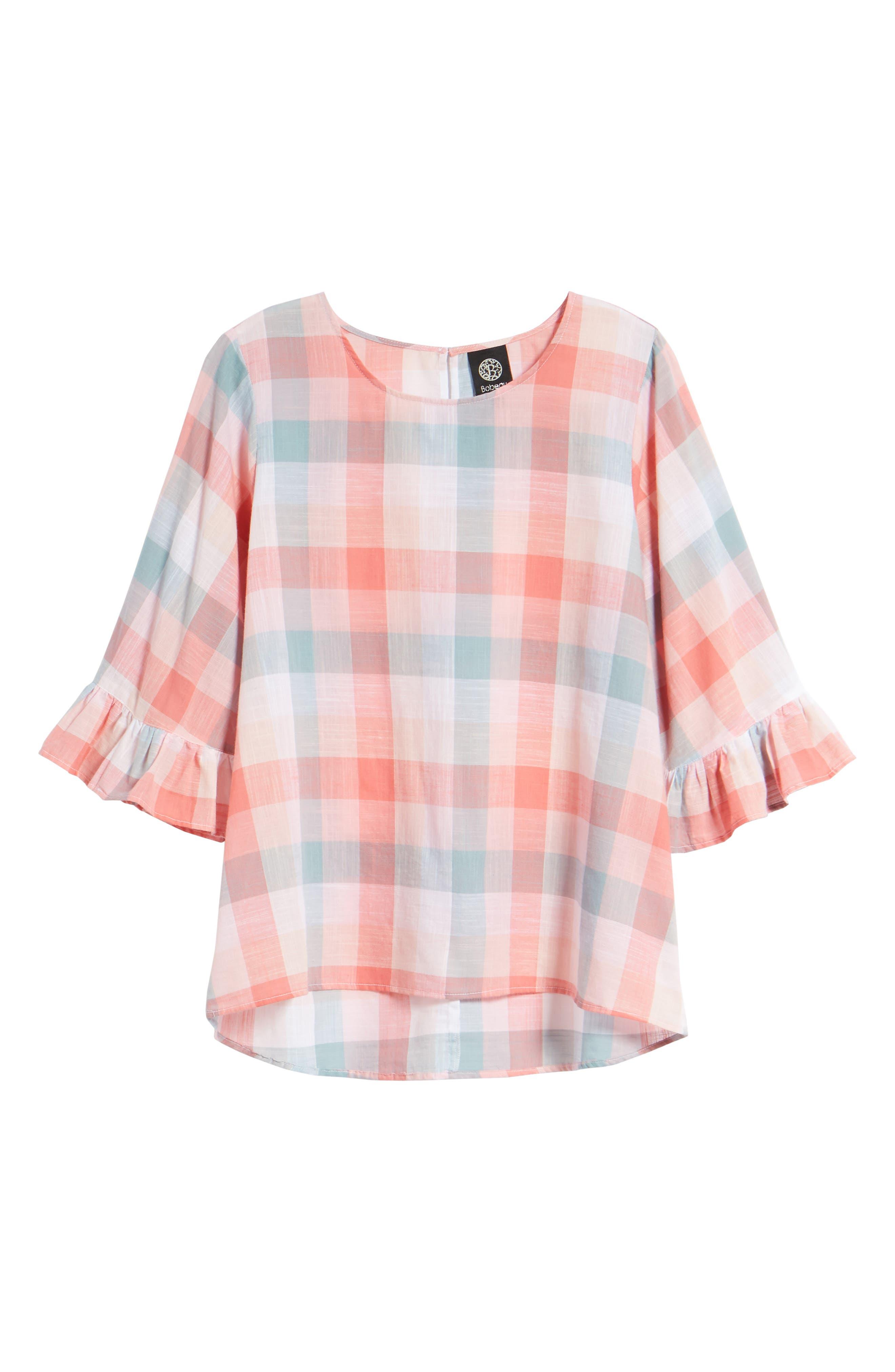 Pastel Plaid Ruffle Sleeve Cotton Top,                             Alternate thumbnail 7, color,                             Pink Plaid