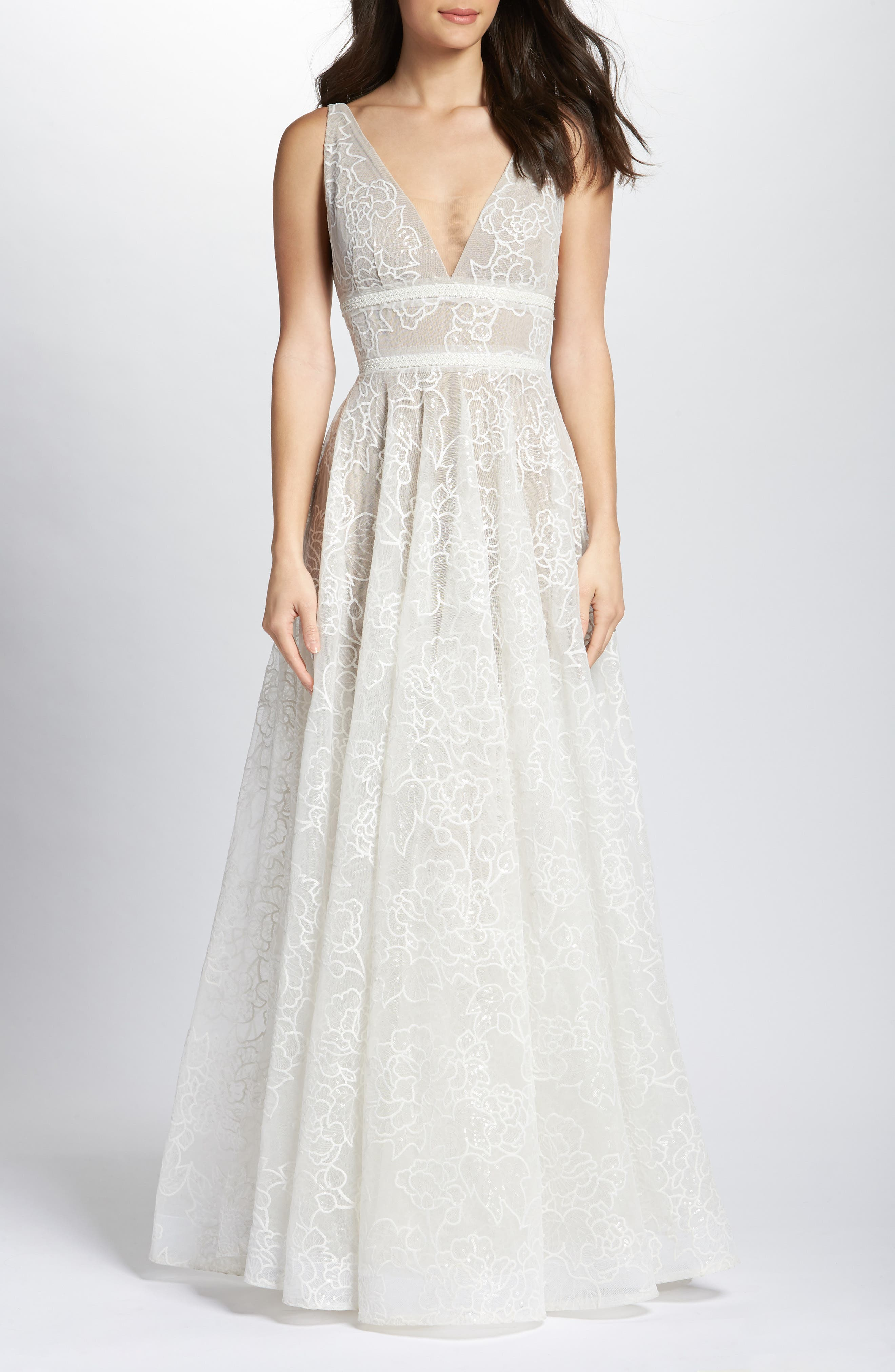 Emily Floral Tulle A-Line Gown,                         Main,                         color, White