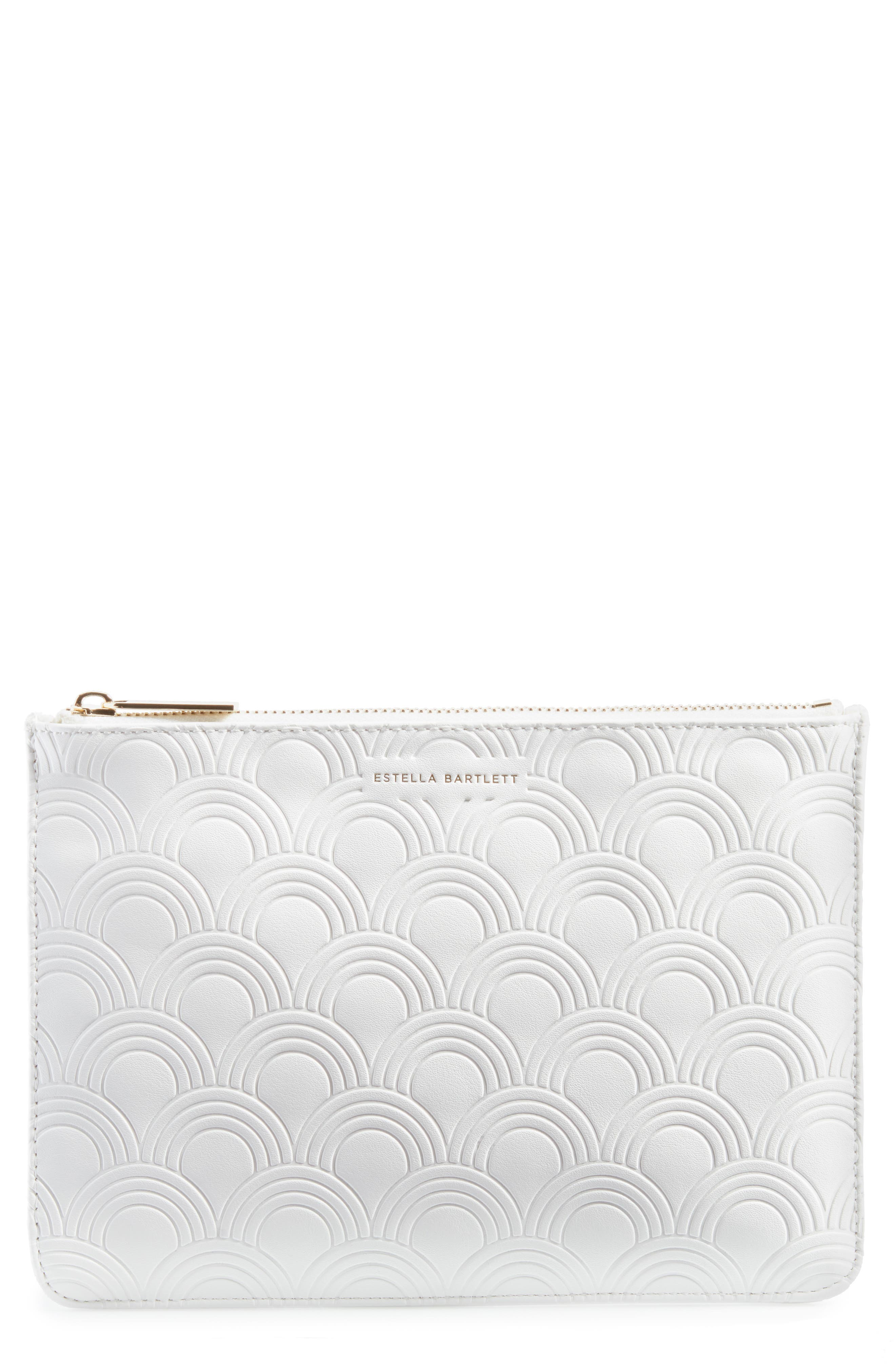 Medium Embossed Faux Leather Pouch,                             Main thumbnail 1, color,                             Ivory