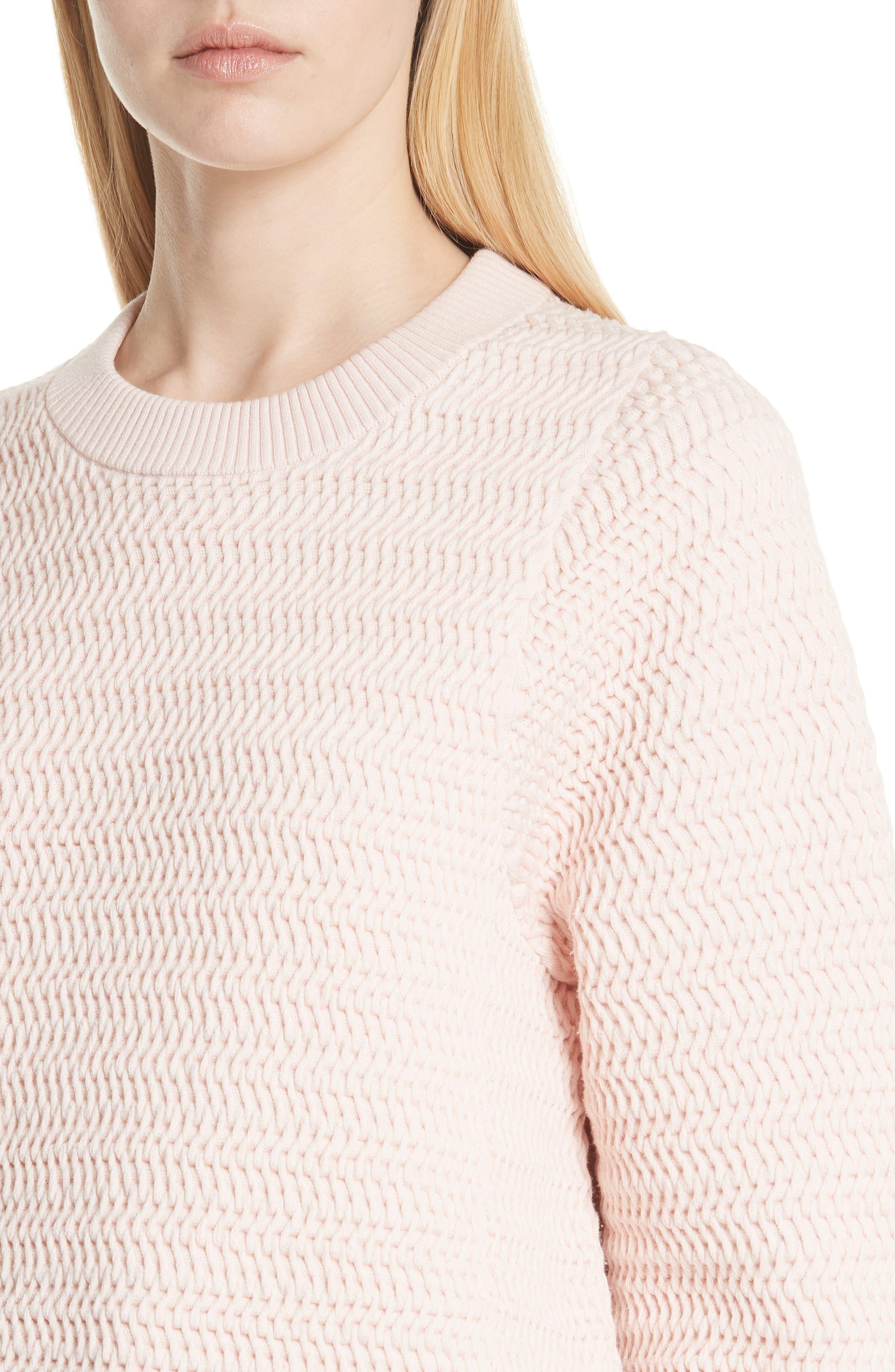 Faux Plait Silk Blend Cocoon Pullover,                             Alternate thumbnail 4, color,                             Powder Pink