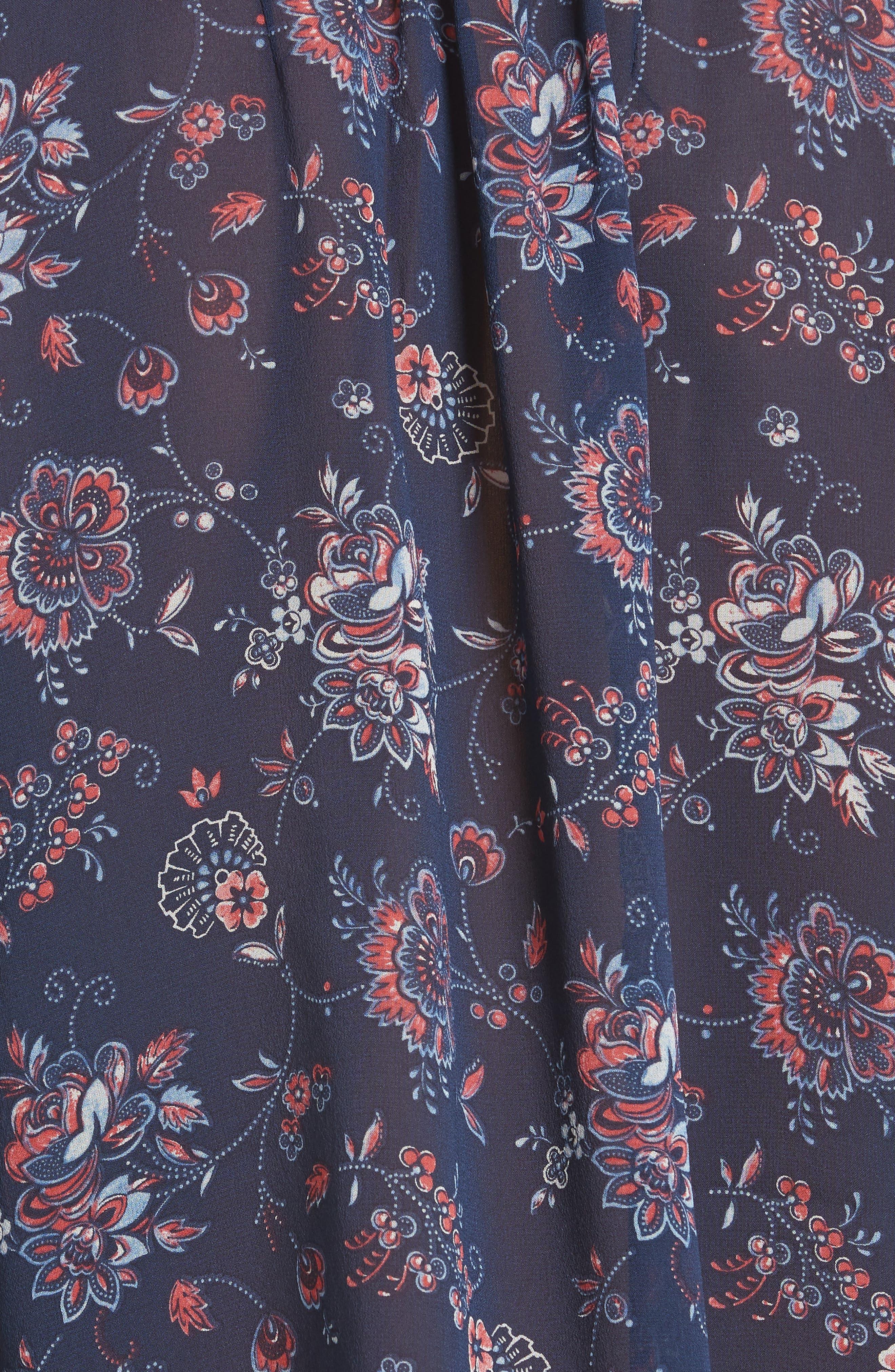 Bolona Floral Silk Blouse,                             Alternate thumbnail 5, color,                             Dark Navy