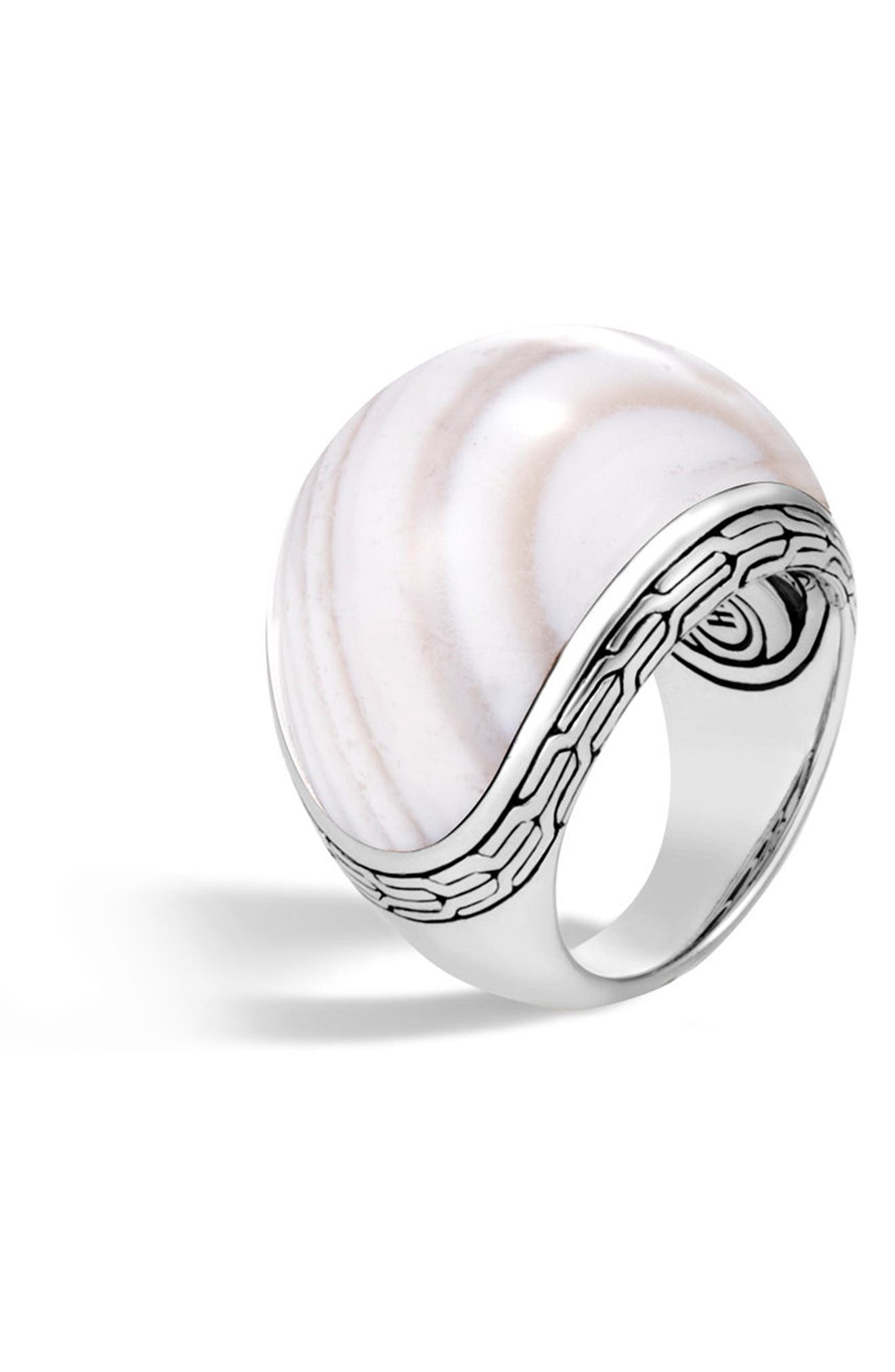 Classic Silver Chain Dome Ring,                             Alternate thumbnail 2, color,                             Silver/ White Agate