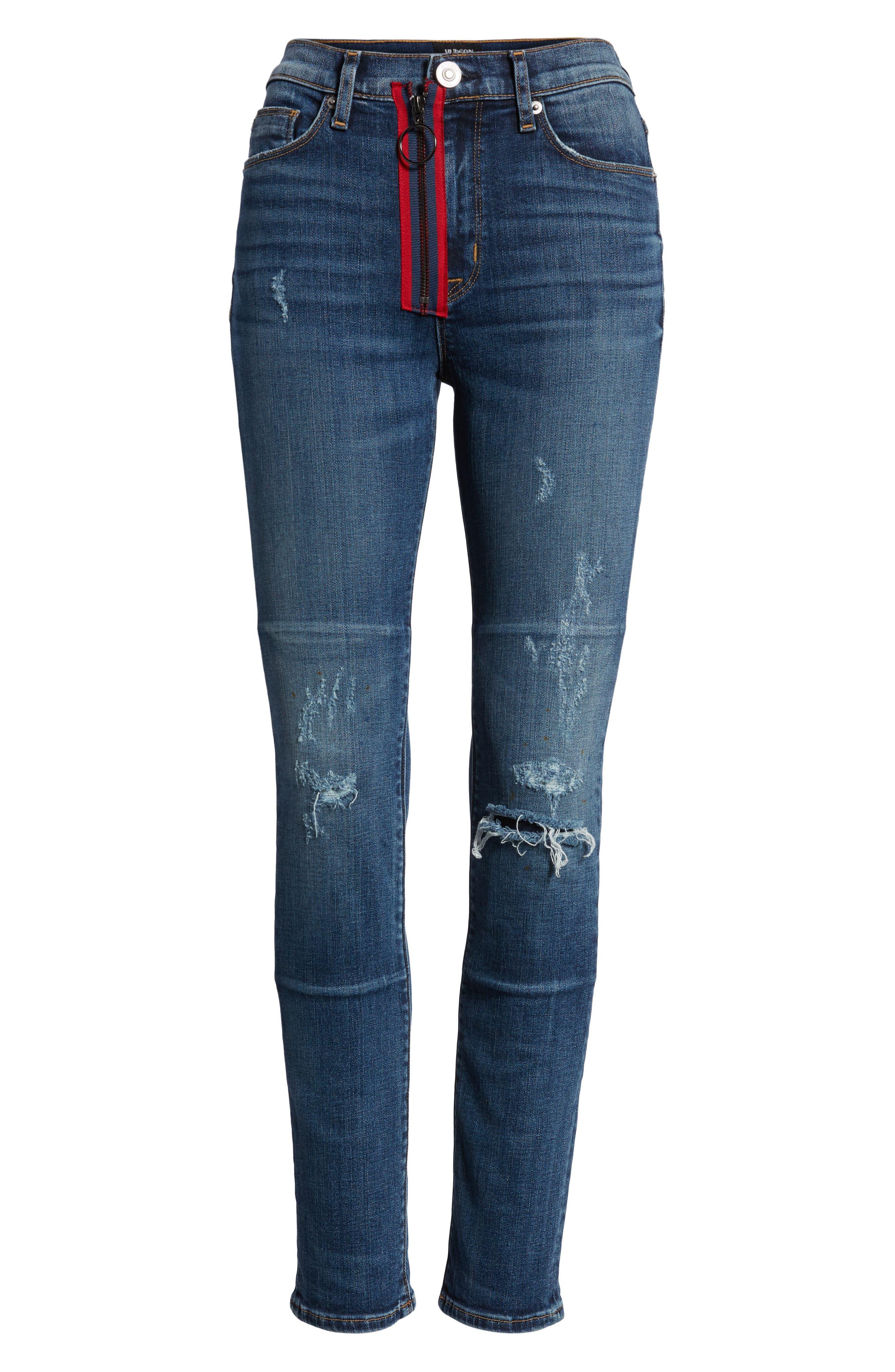 Barbara Exposed Zip High Waist Ankle Skinny Jeans,                             Alternate thumbnail 7, color,                             Vibez