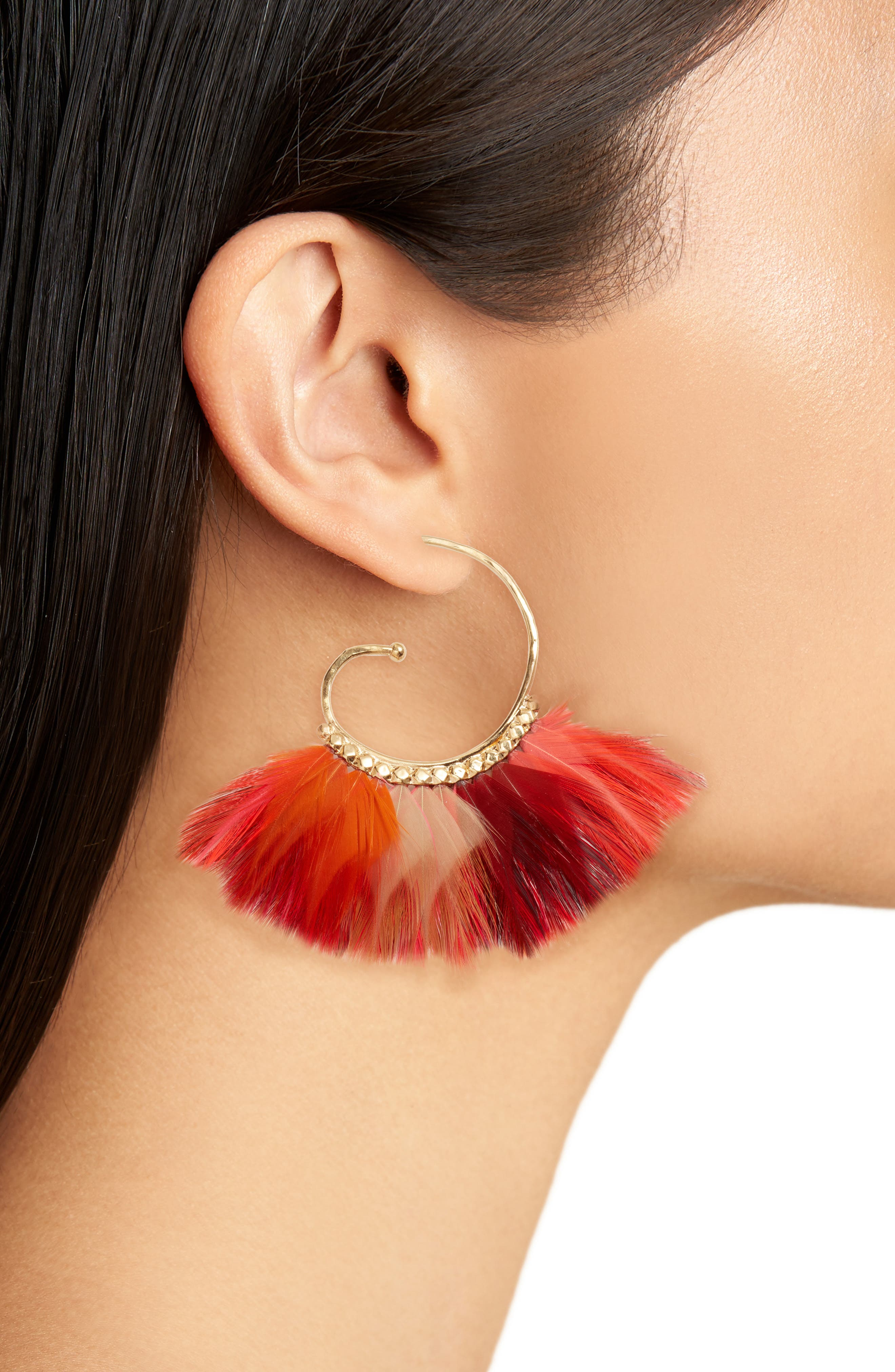 'Buzios' Feather Earrings,                             Alternate thumbnail 2, color,                             Neon Pink