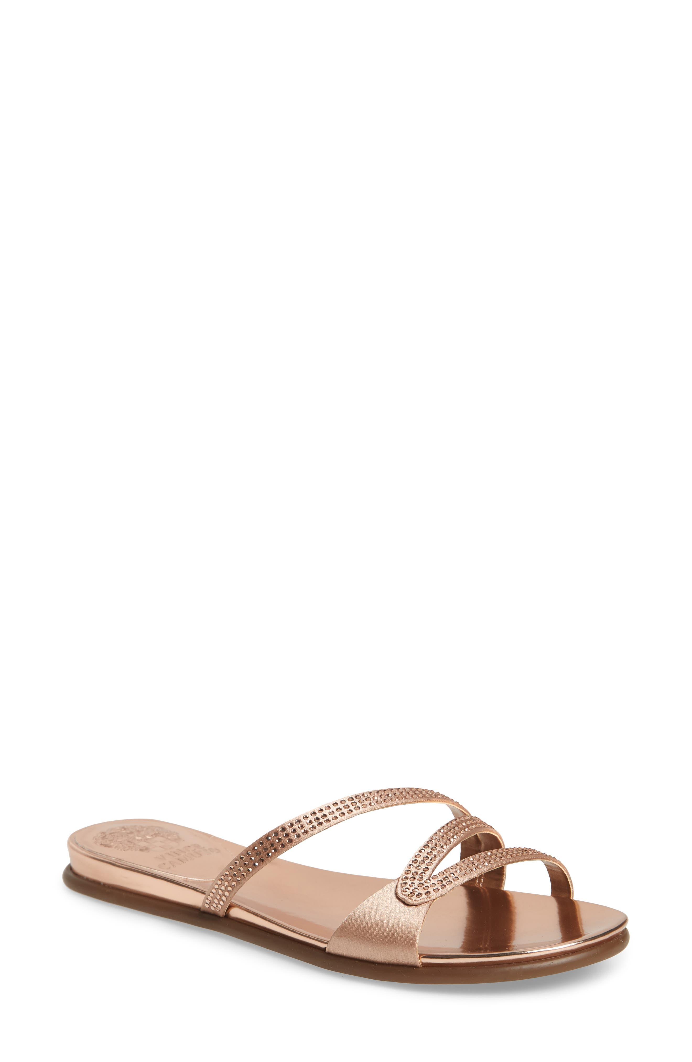 Elouisa Crystal Slide Sandal,                             Main thumbnail 1, color,                             Pink Bisque Satin