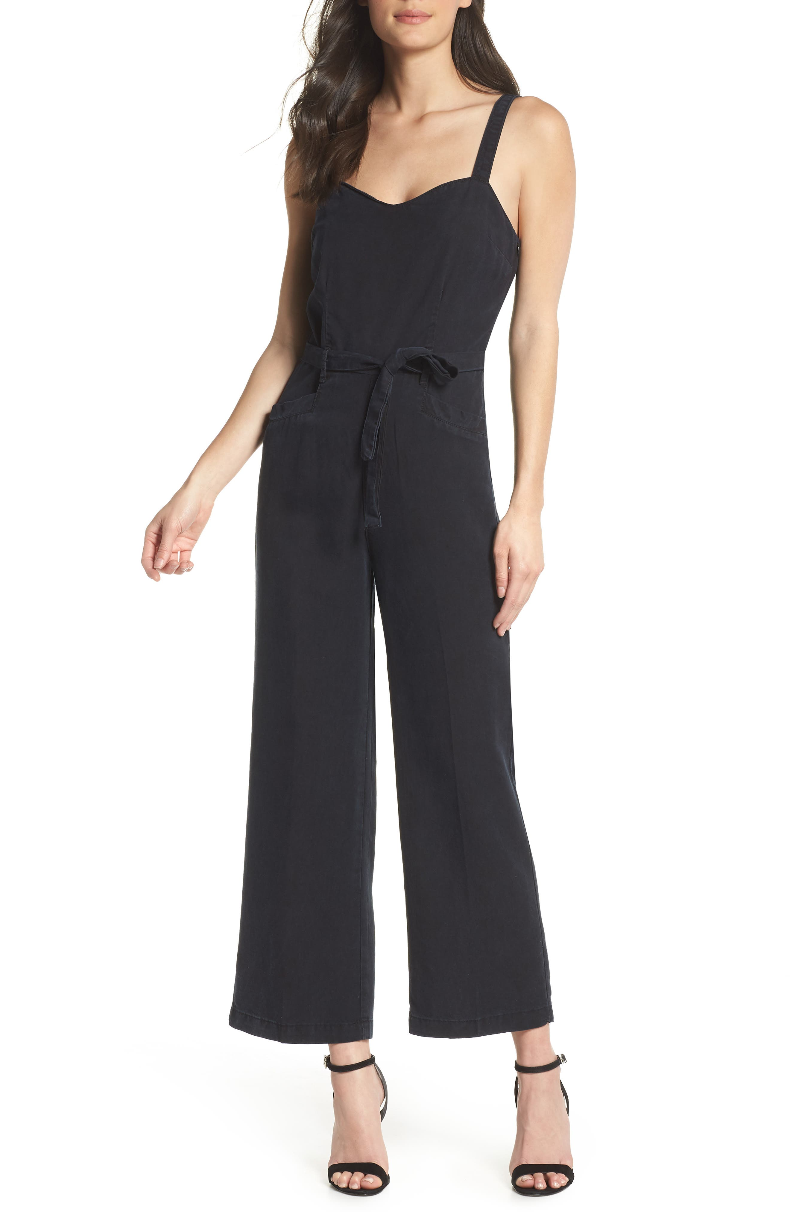 Emma Tie-Waist Jumpsuit,                             Main thumbnail 1, color,                             Black Pearl