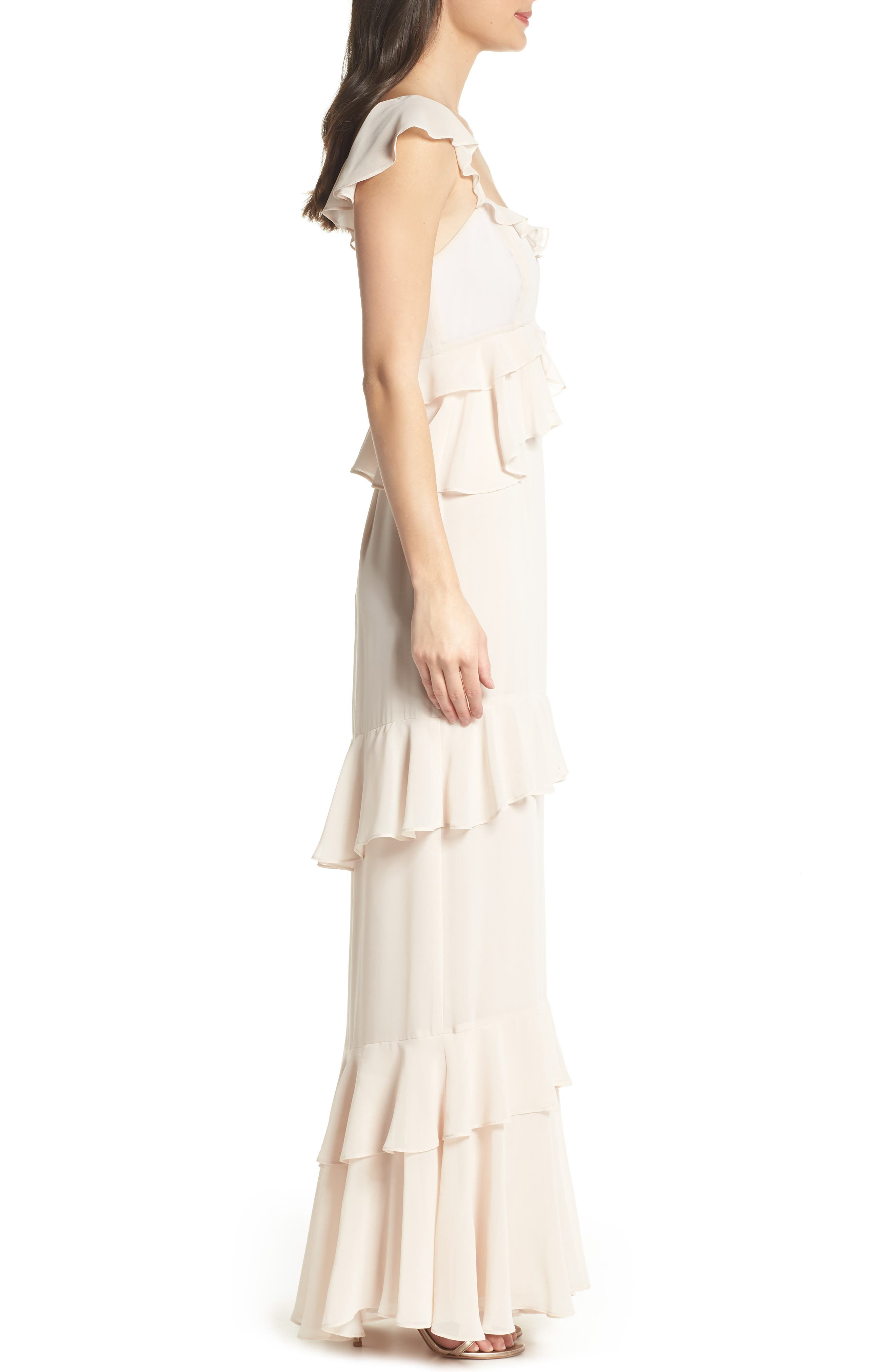 The Gywneth Ruffle Maxi Gown,                             Alternate thumbnail 3, color,                             Champagne