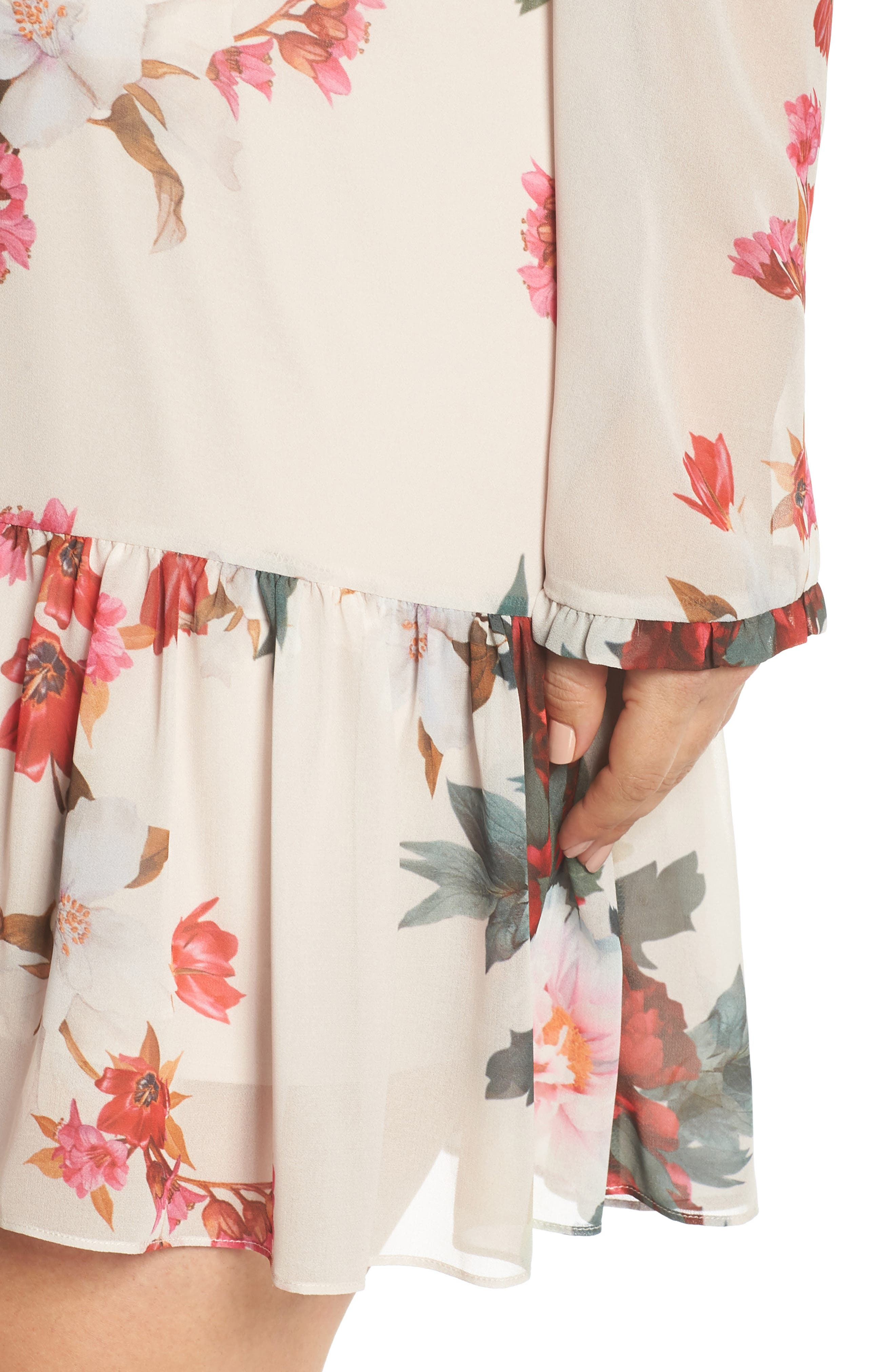 Rosa Floral Chiffon Minidress,                             Alternate thumbnail 4, color,                             Print