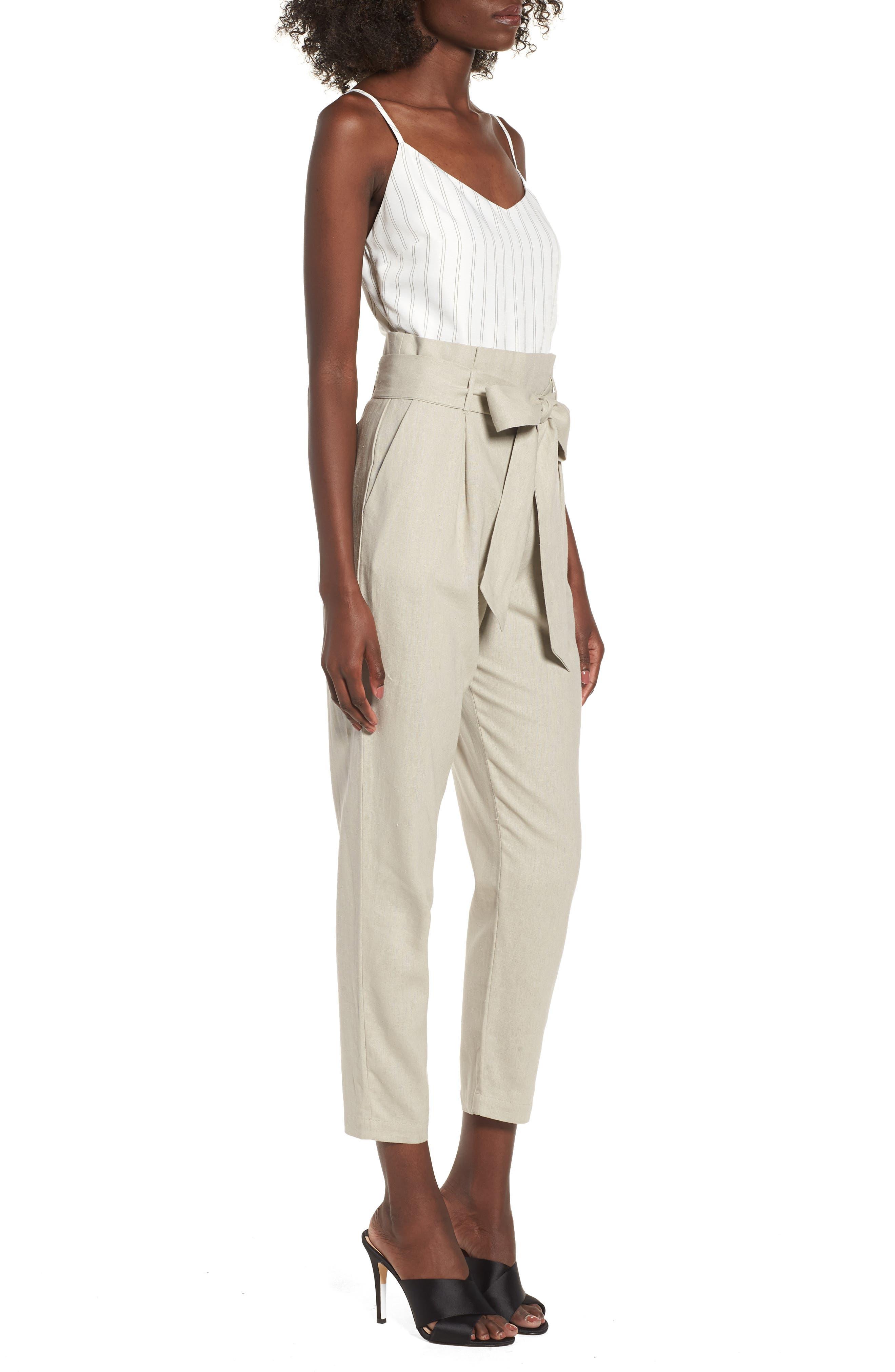 Tie Waist Crop Jumpsuit,                             Alternate thumbnail 3, color,                             Beige Morn Stripe
