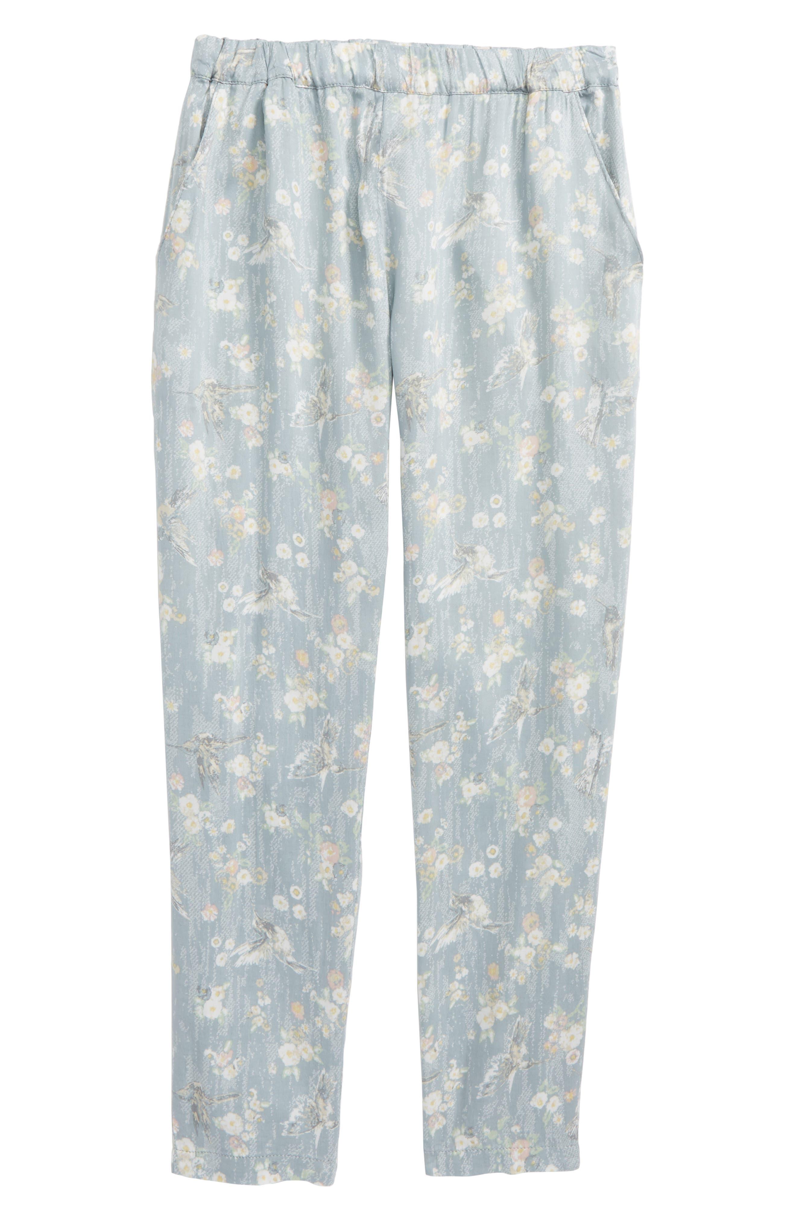Sonia Floral Print Pants,                         Main,                         color, Sky
