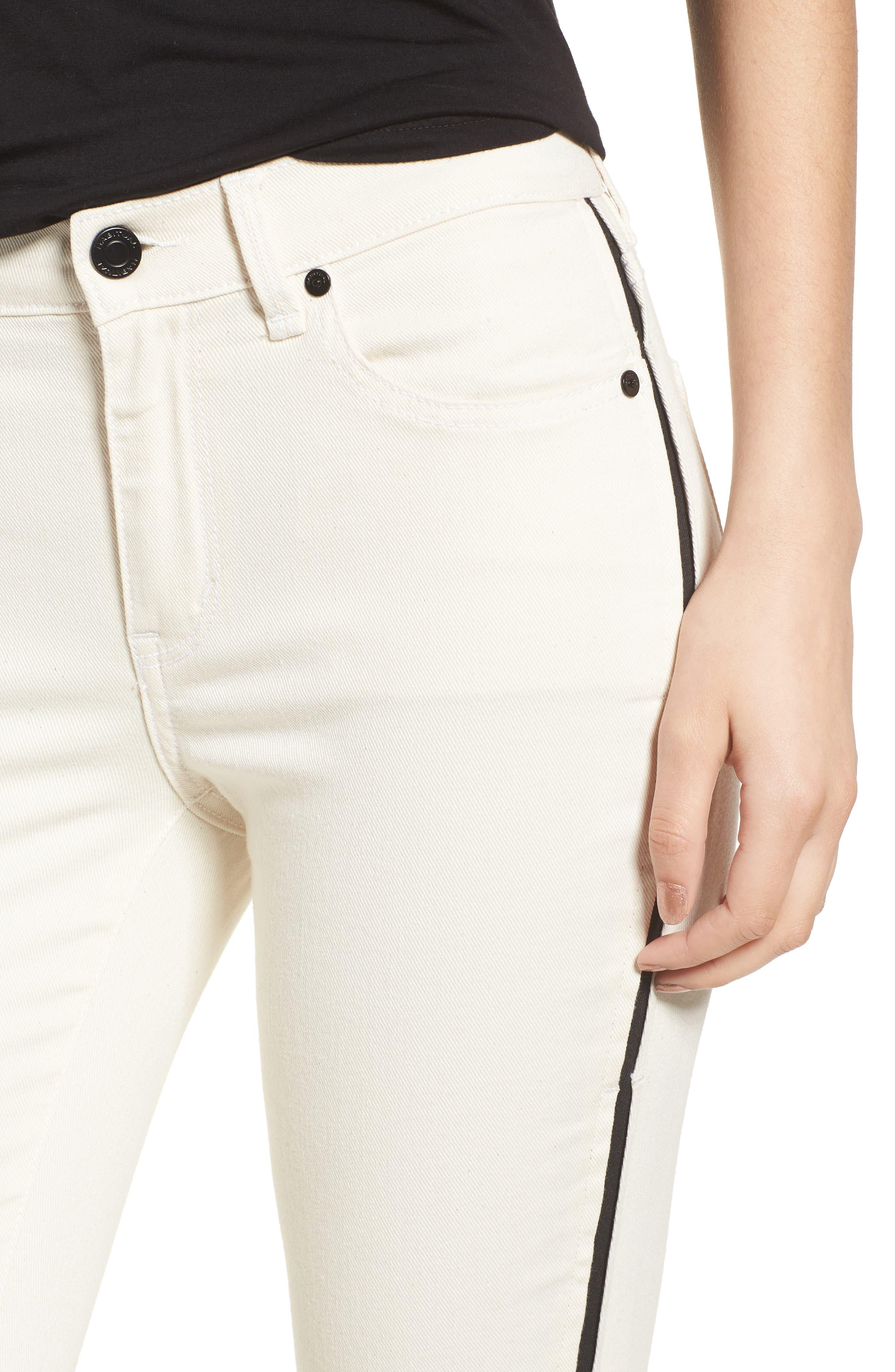 Demi Inset Stripe Skinny Jeans,                             Alternate thumbnail 4, color,                             Natural