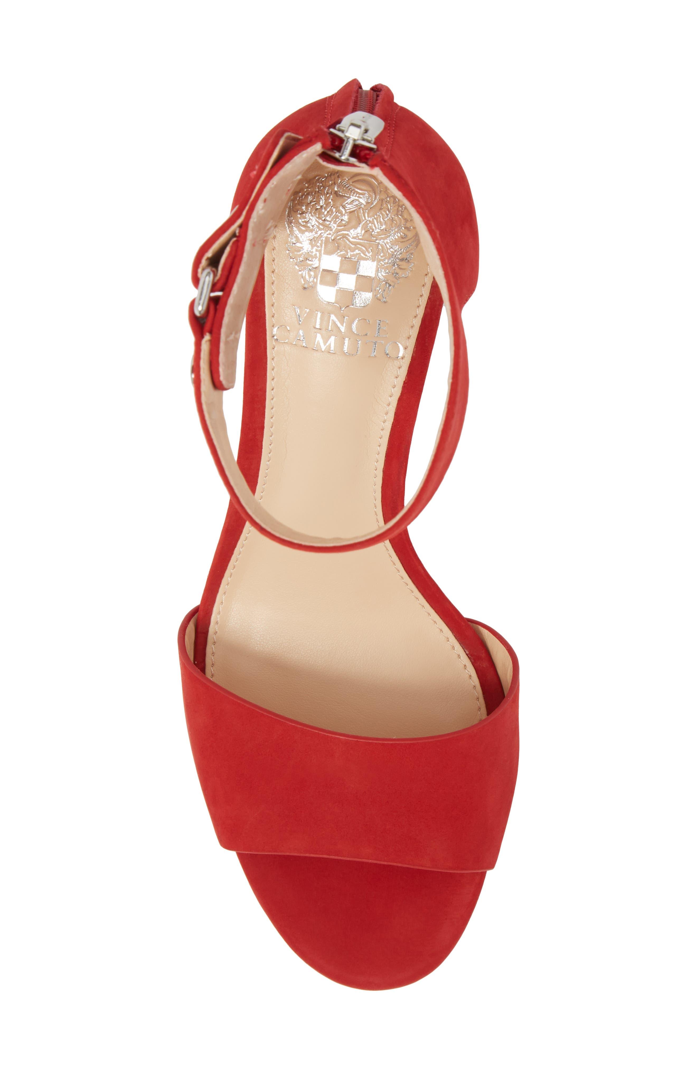 Jannali Ankle Strap Sandal,                             Alternate thumbnail 5, color,                             Cherry Red Leather