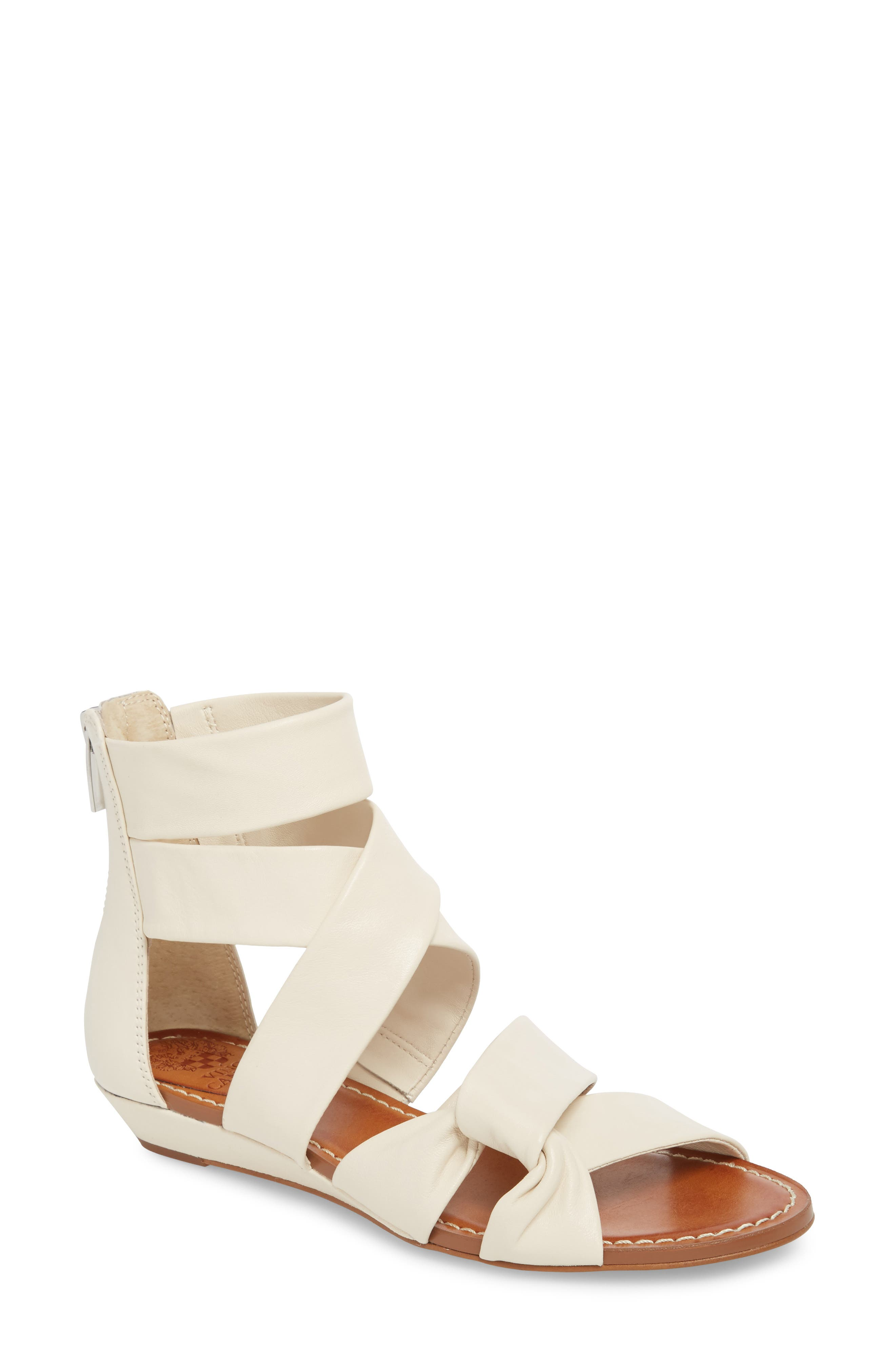 Seevina Low Wedge Sandal,                         Main,                         color, Vanilla Leather