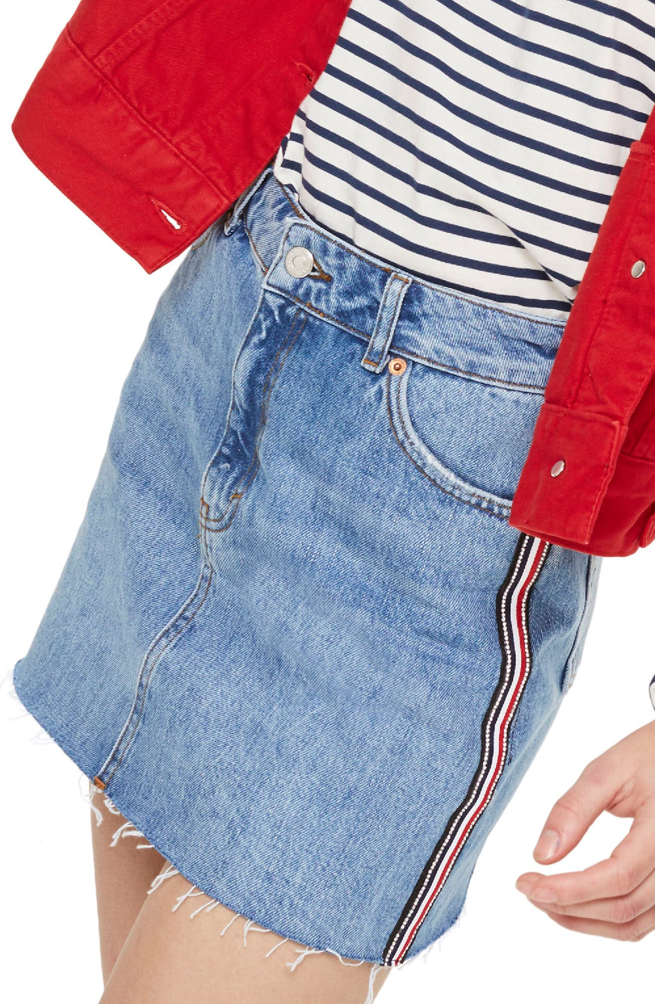 Diamante Stripe Denim Skirt,                         Main,                         color, Mid Denim