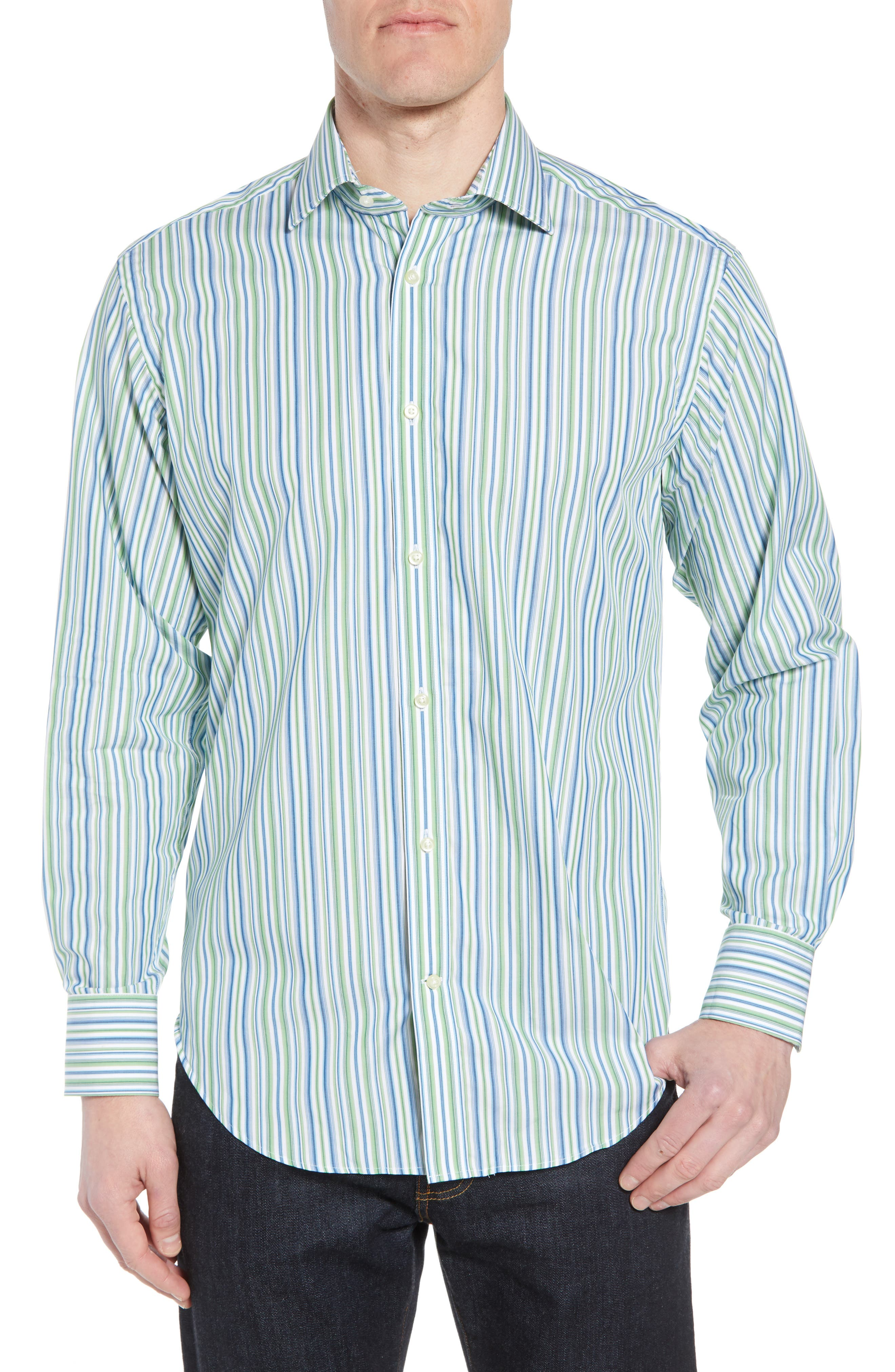Regular Fit Stripe Sport Shirt,                         Main,                         color, Green