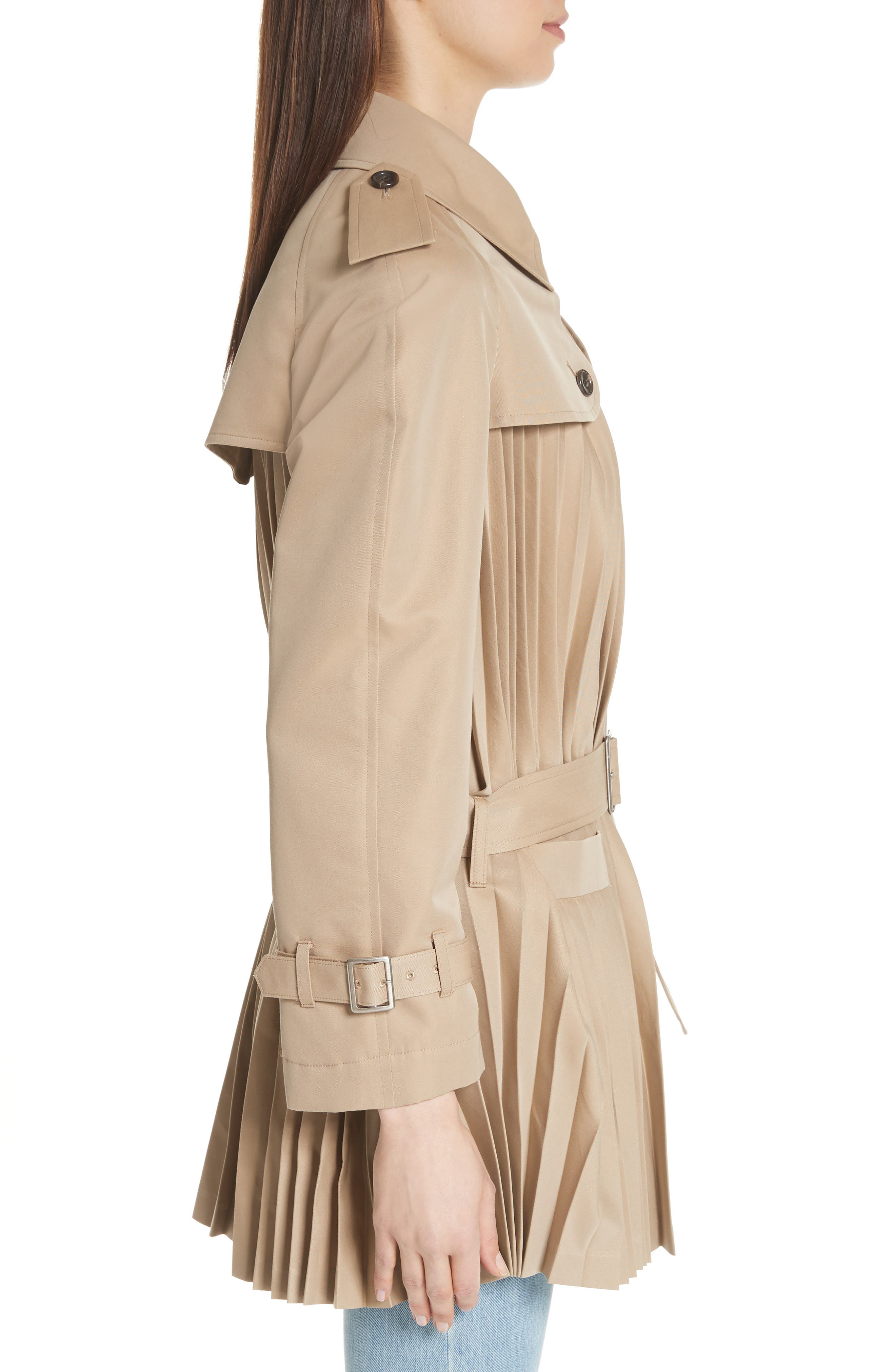 Pleated Cotton Blend Trench Coat,                             Alternate thumbnail 3, color,                             Beige