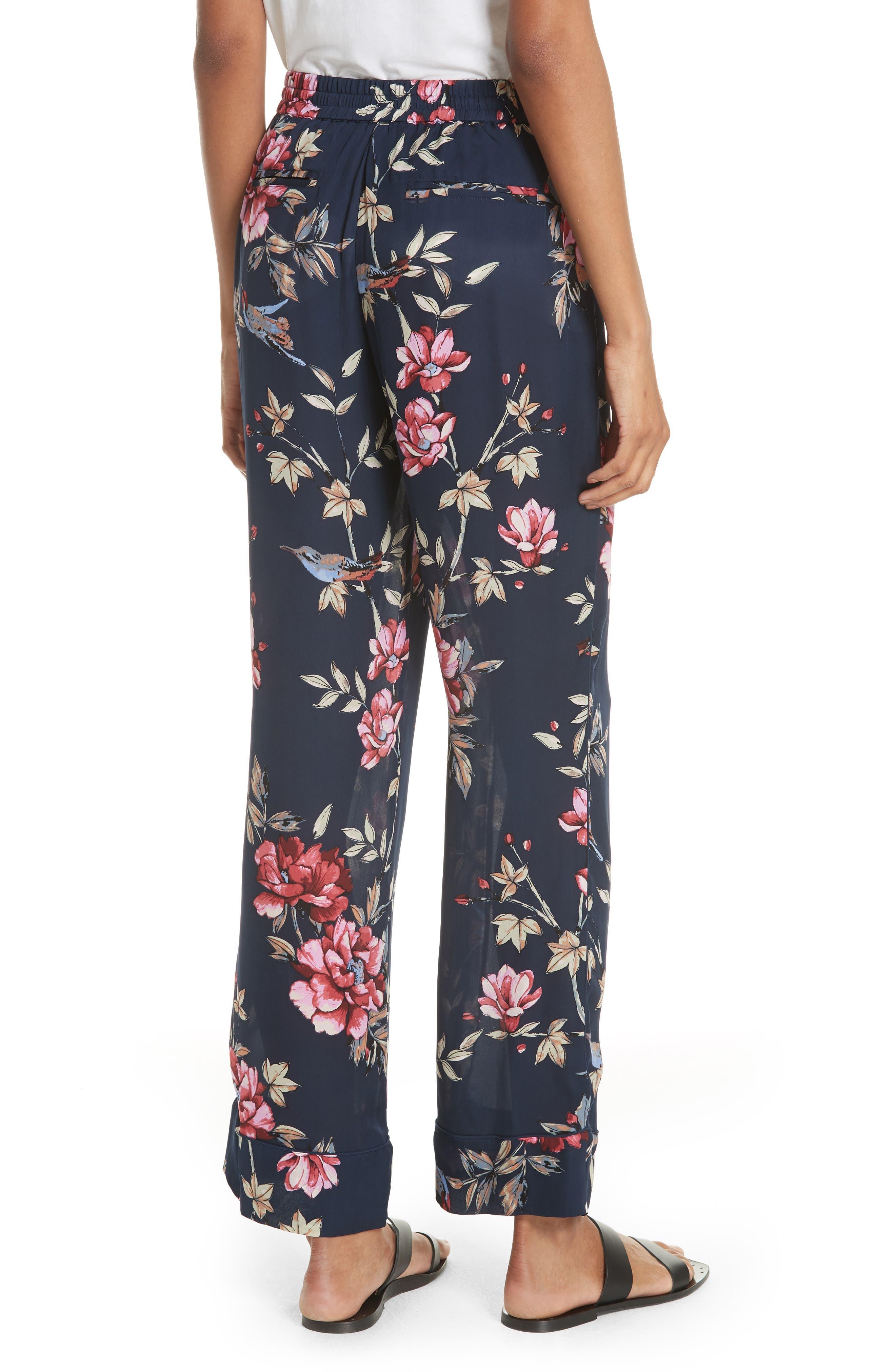 Daltona Floral Silk Pants,                             Alternate thumbnail 2, color,                             Dark Navy