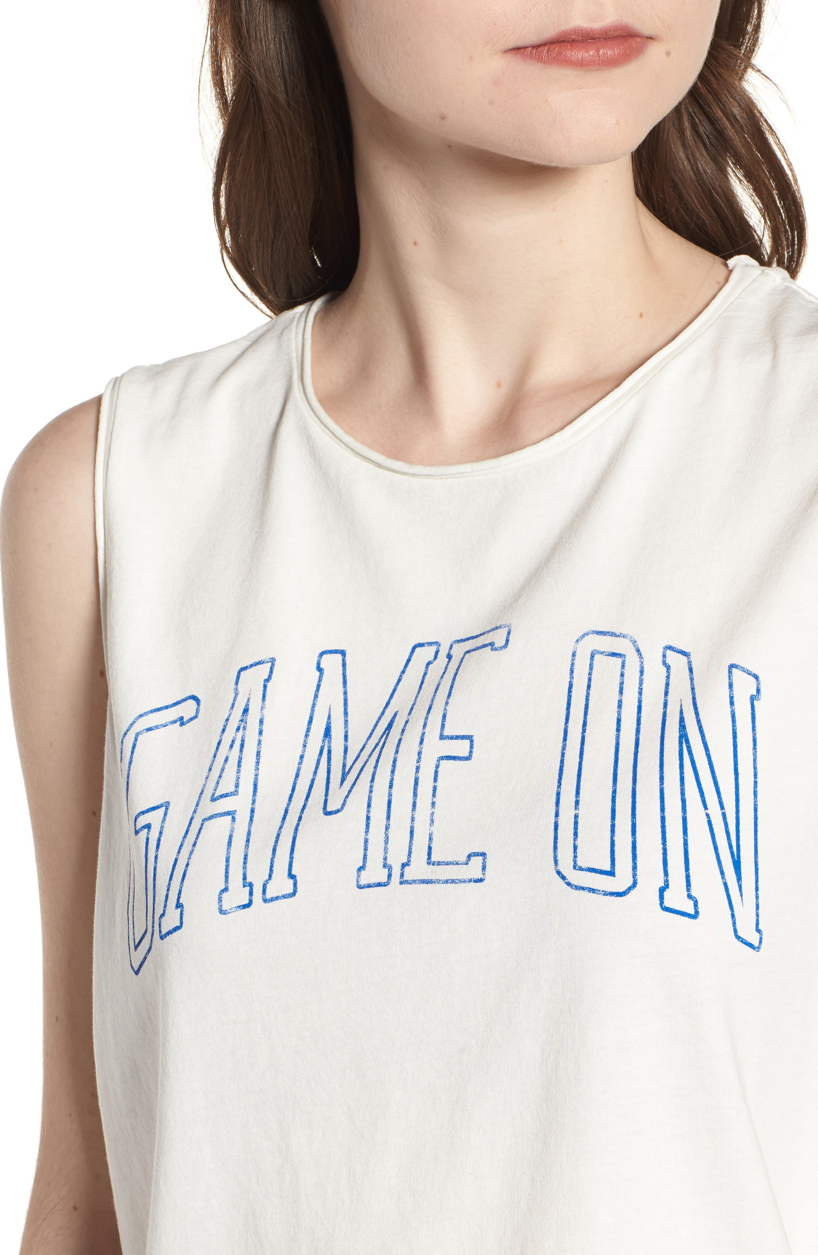 Game On Muscle Tank,                             Alternate thumbnail 4, color,                             Vintage White Blue