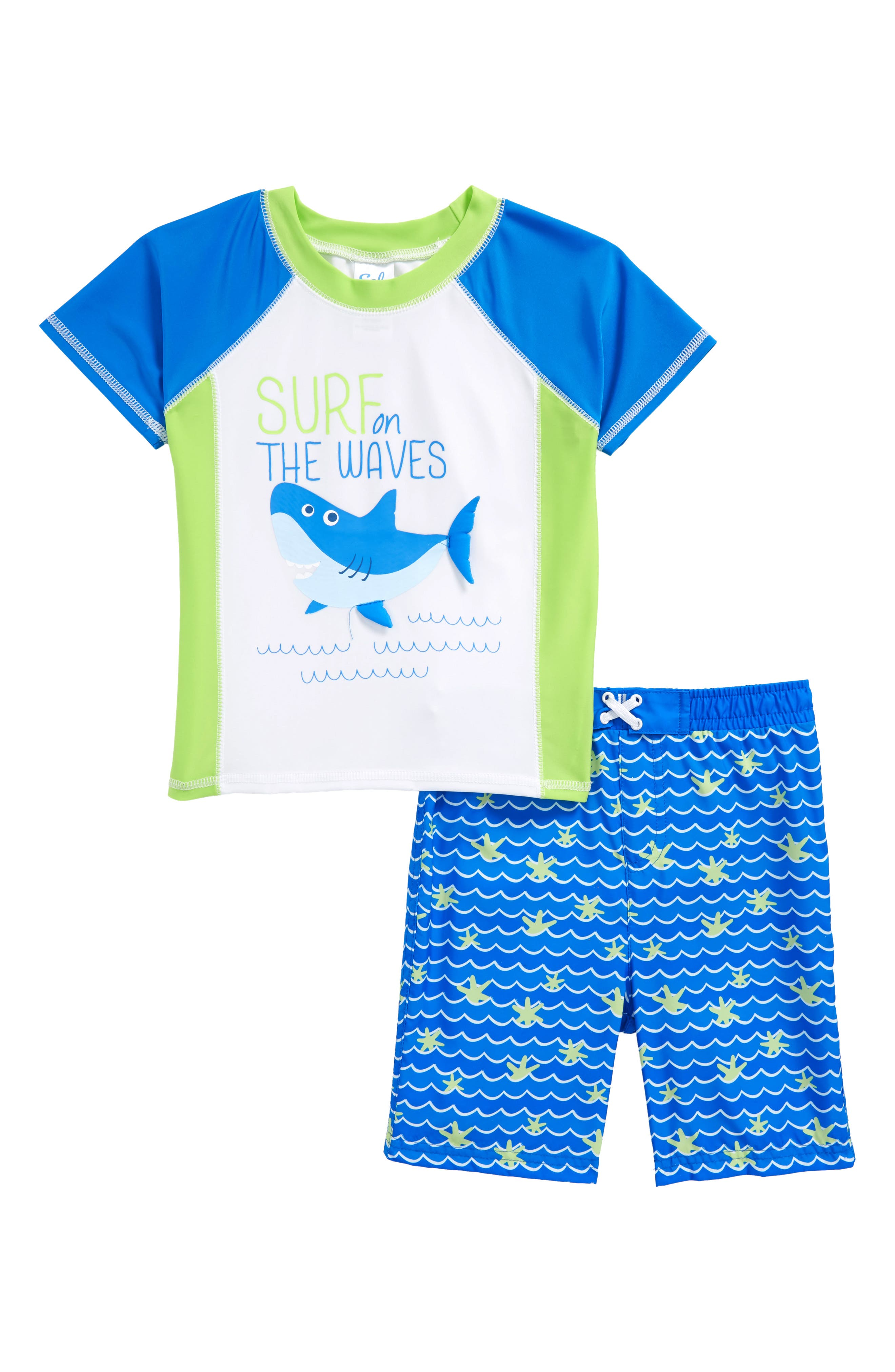 Main Image - Sol Swim Shark Surf Two-Piece Rashguard Swimsuit (Toddler Boys & Little Boys)