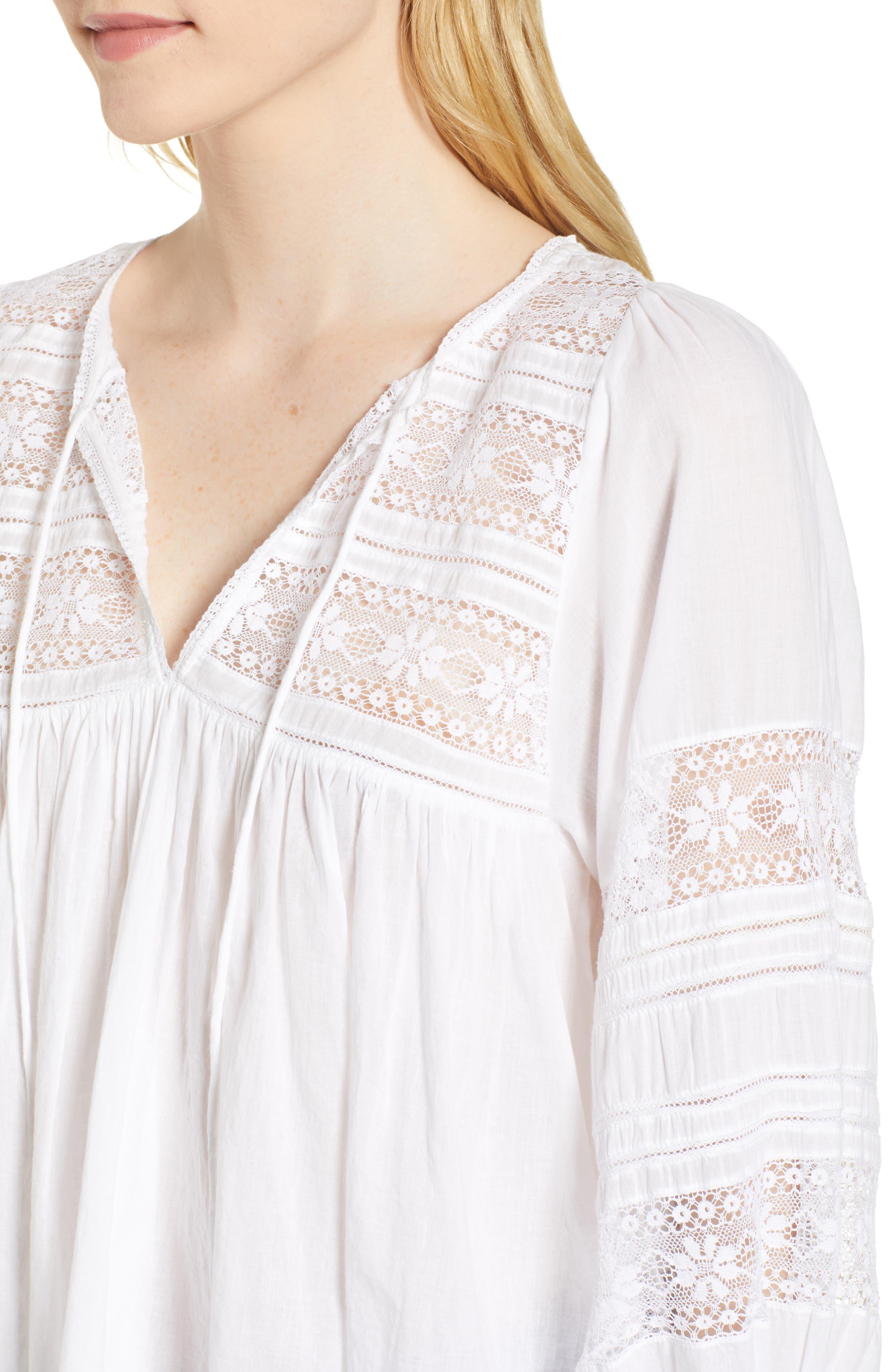 Cotton Lace Peasant Blouse,                             Alternate thumbnail 4, color,                             White