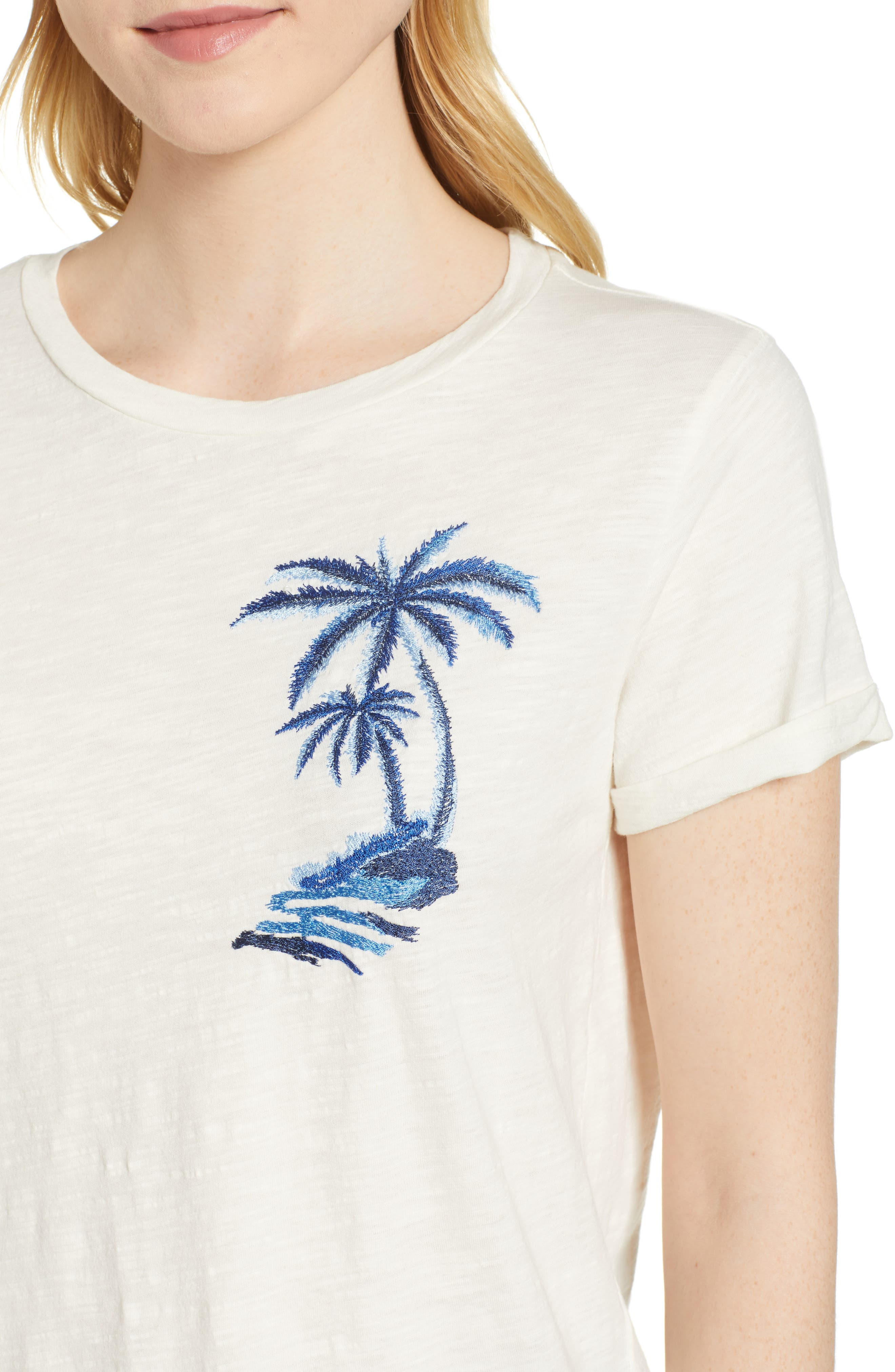 Embroidered Palm Tee,                             Alternate thumbnail 4, color,                             Lucky White