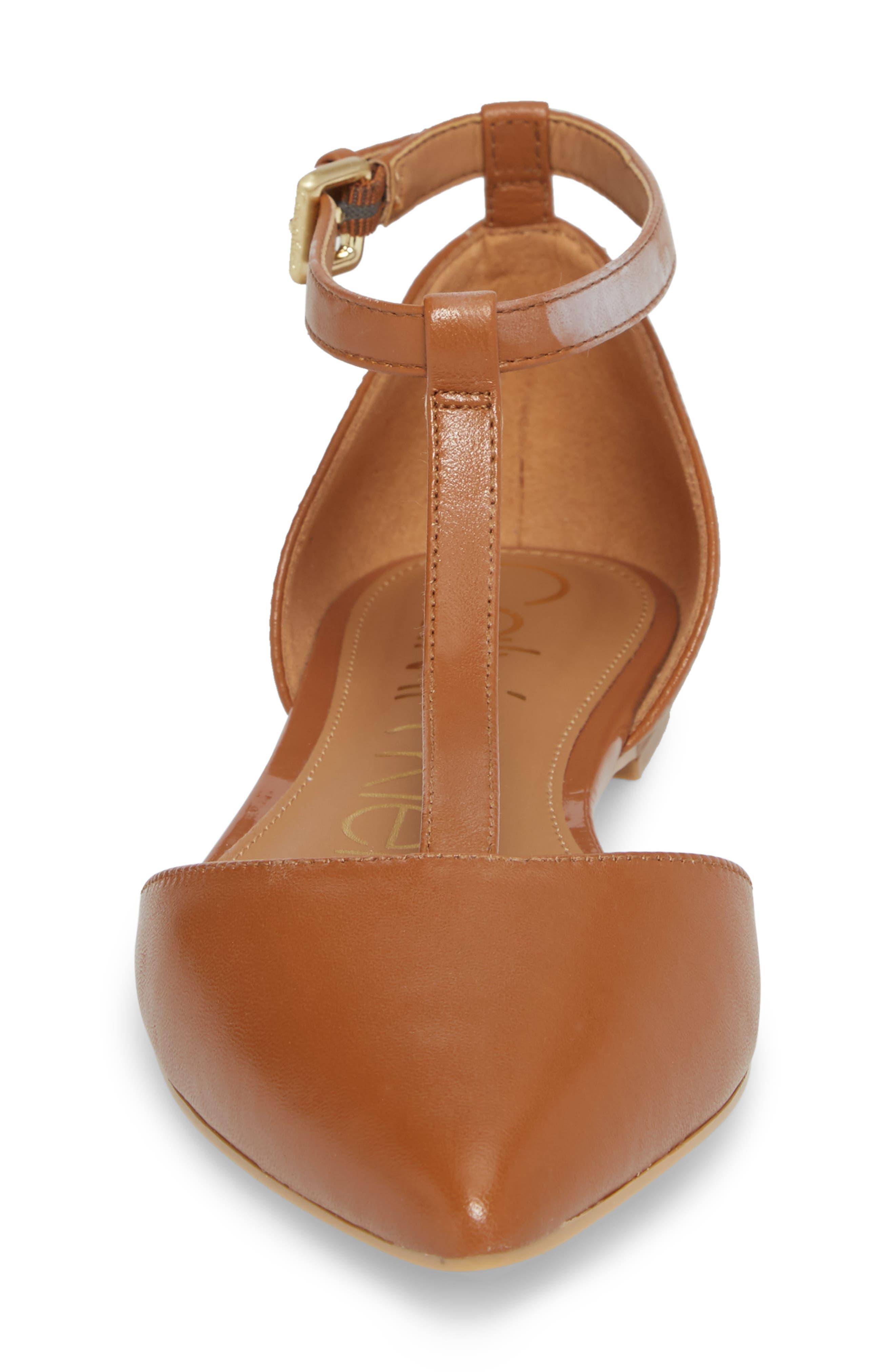 'Ghita' T-Strap Flat,                             Alternate thumbnail 4, color,                             Cognac Leather