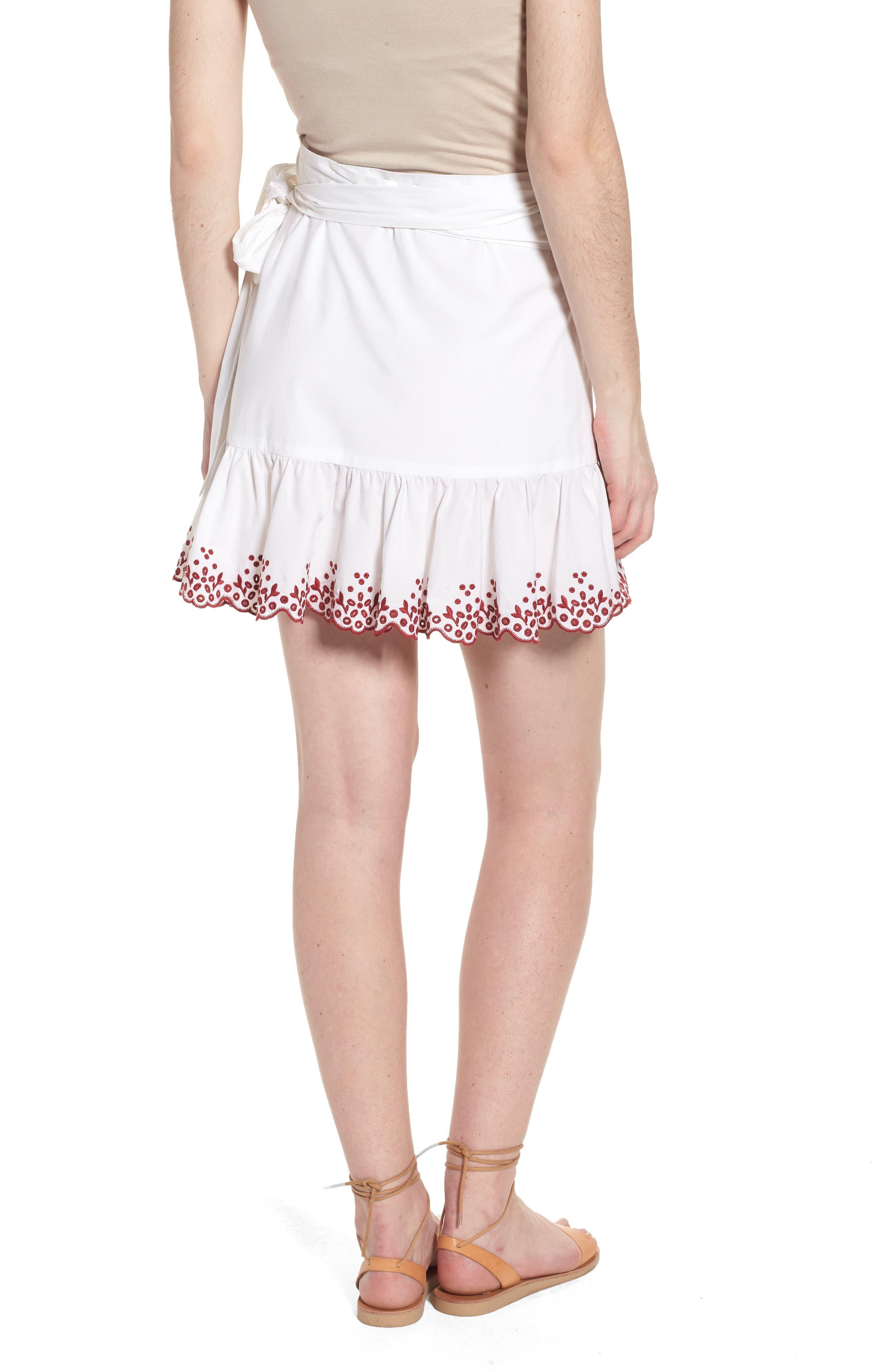 Alice Faux Wrap Skirt,                             Alternate thumbnail 2, color,                             White/ Red