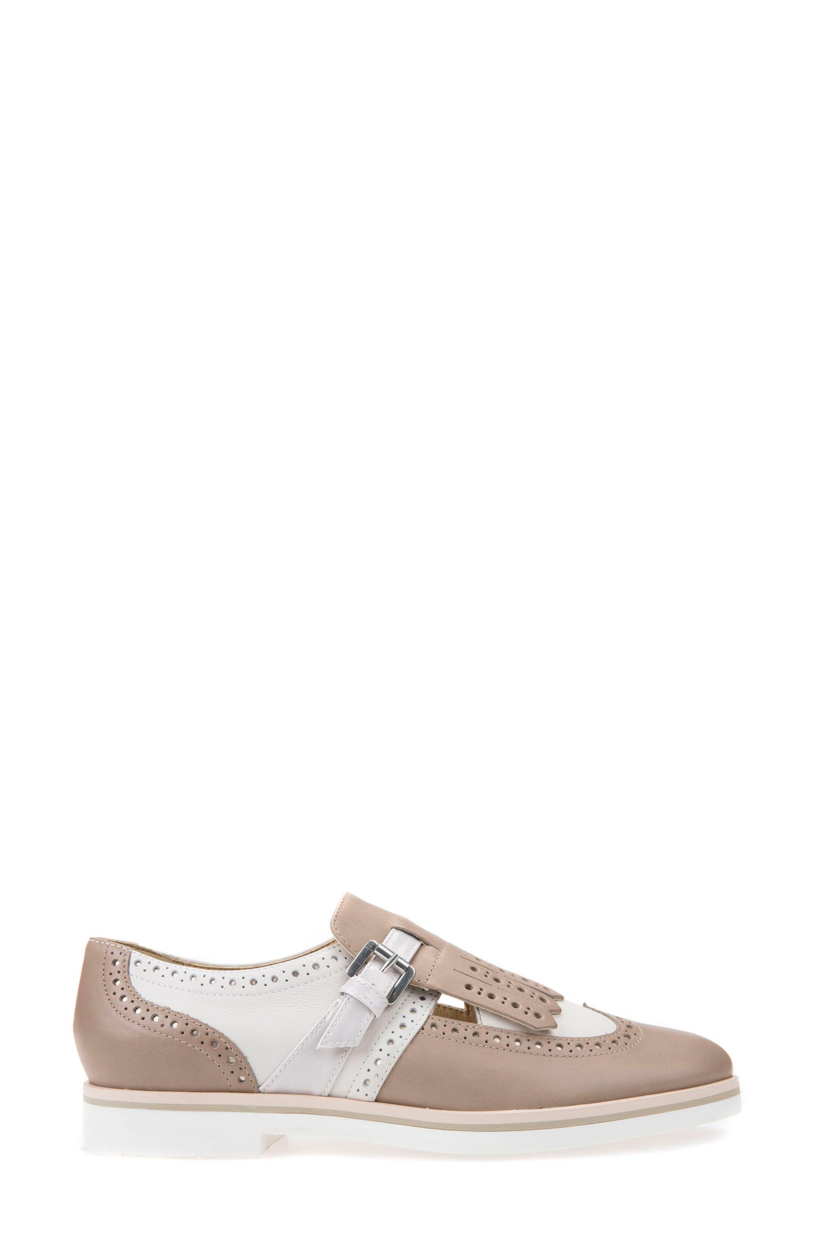 Janalee Cutout Loafer,                             Alternate thumbnail 3, color,                             Sand Leather