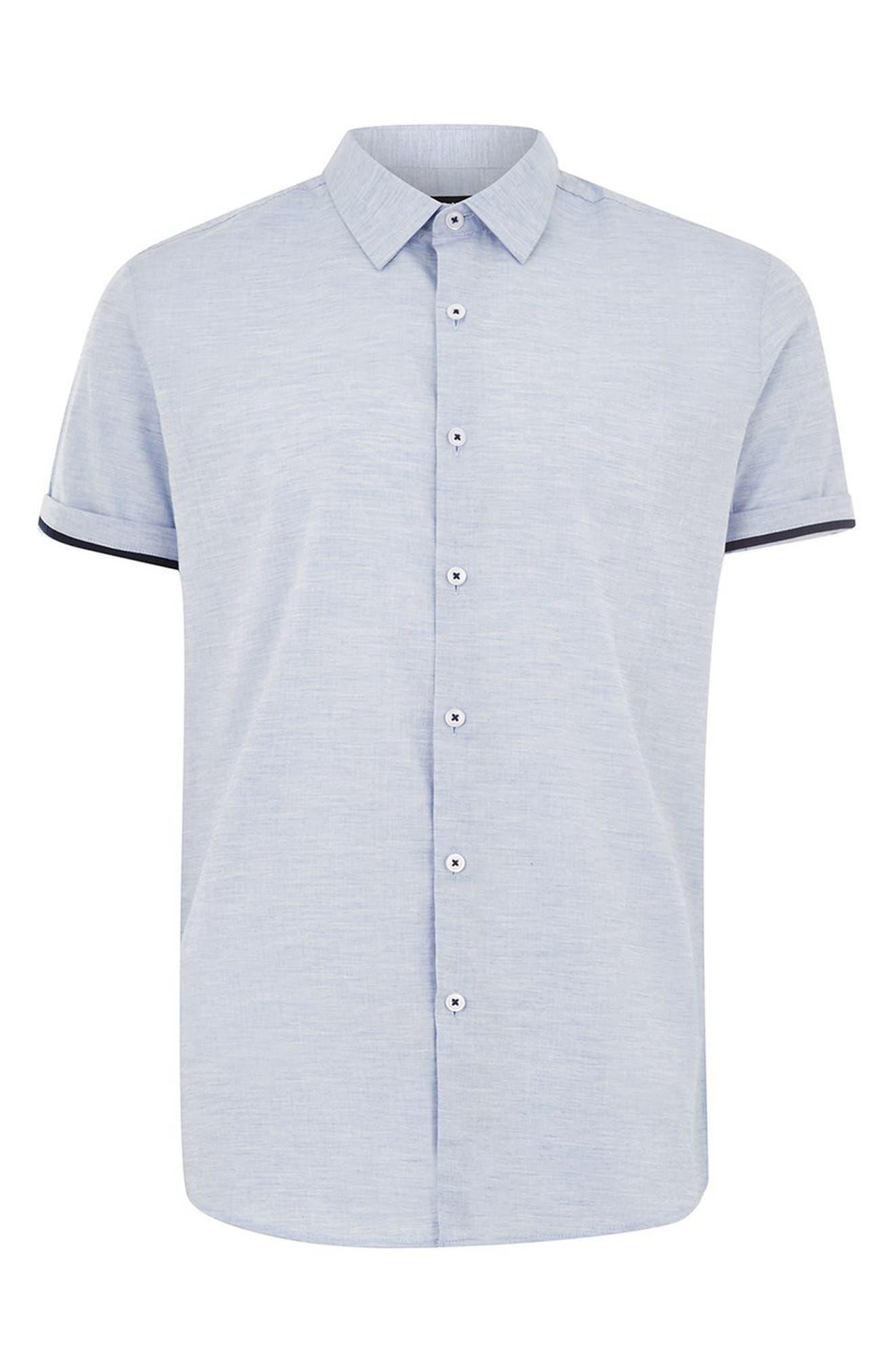 Skinny Fit Slub Shirt,                             Alternate thumbnail 4, color,                             Blue