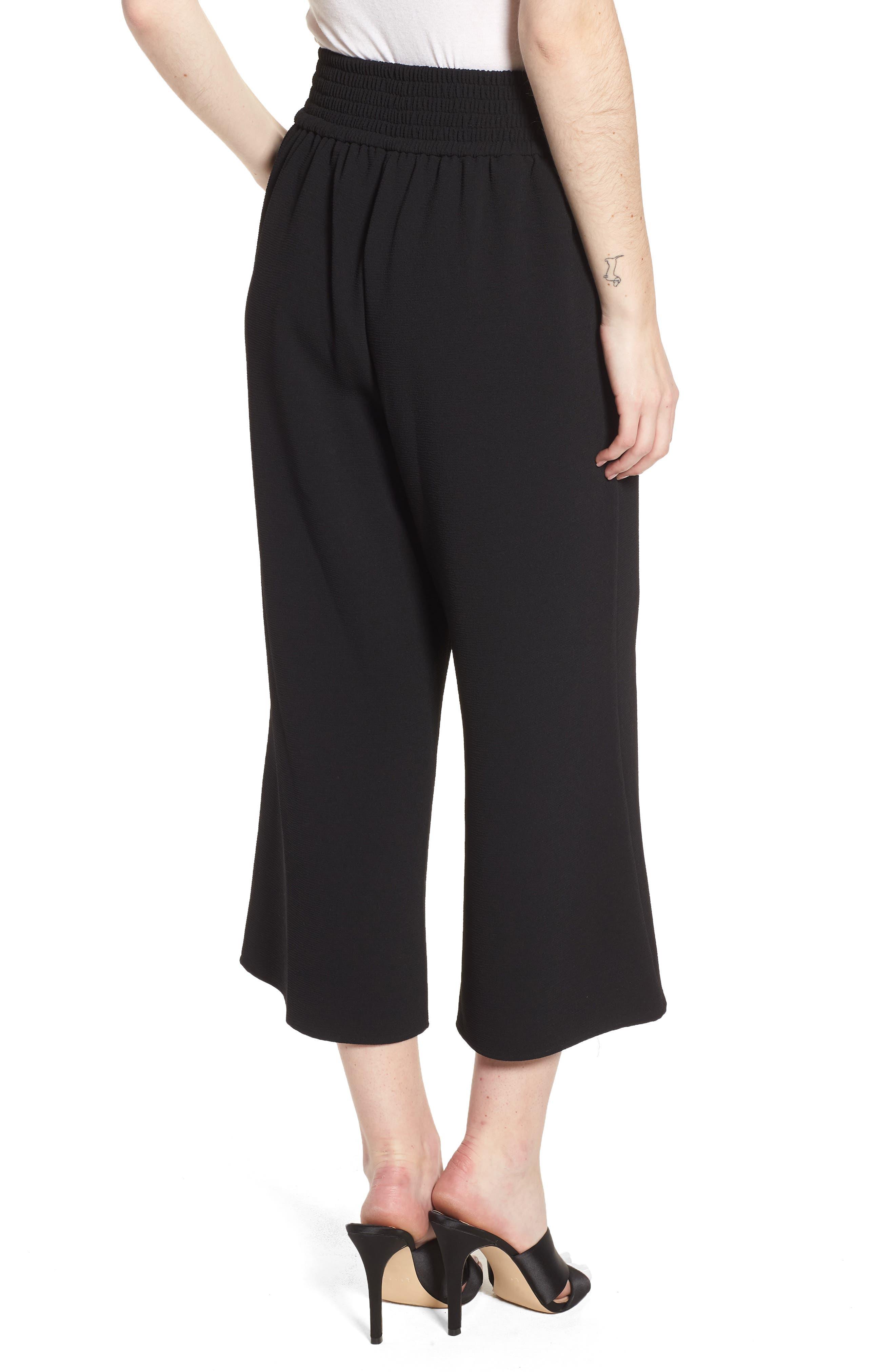 Trouvé Tie Front Wide Leg Pants,                             Alternate thumbnail 2, color,                             Black