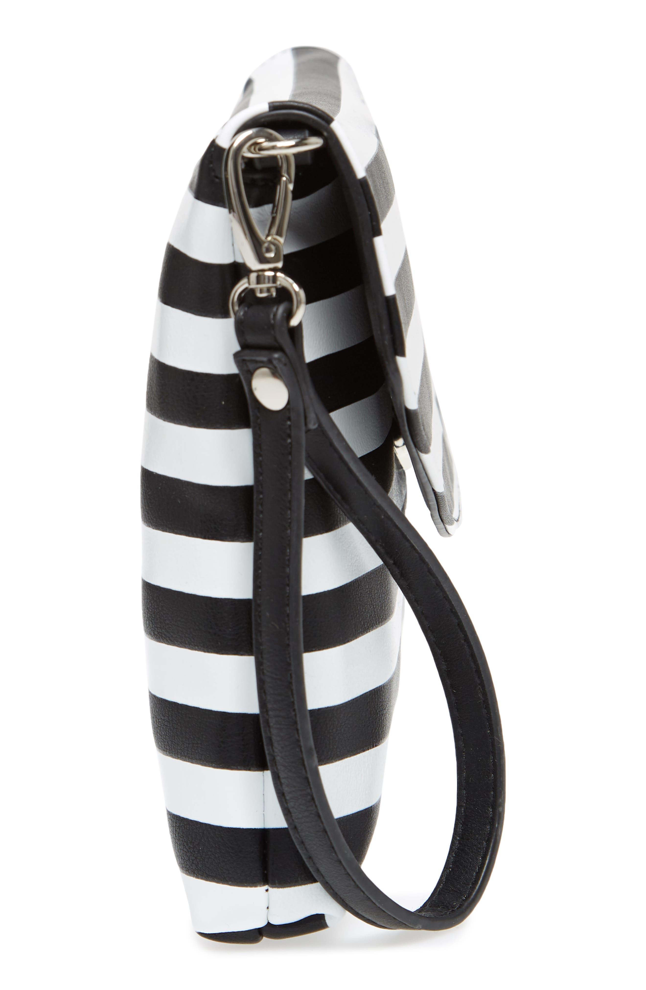 Faux Leather Wristlet Clutch,                             Alternate thumbnail 6, color,                             Black/ White