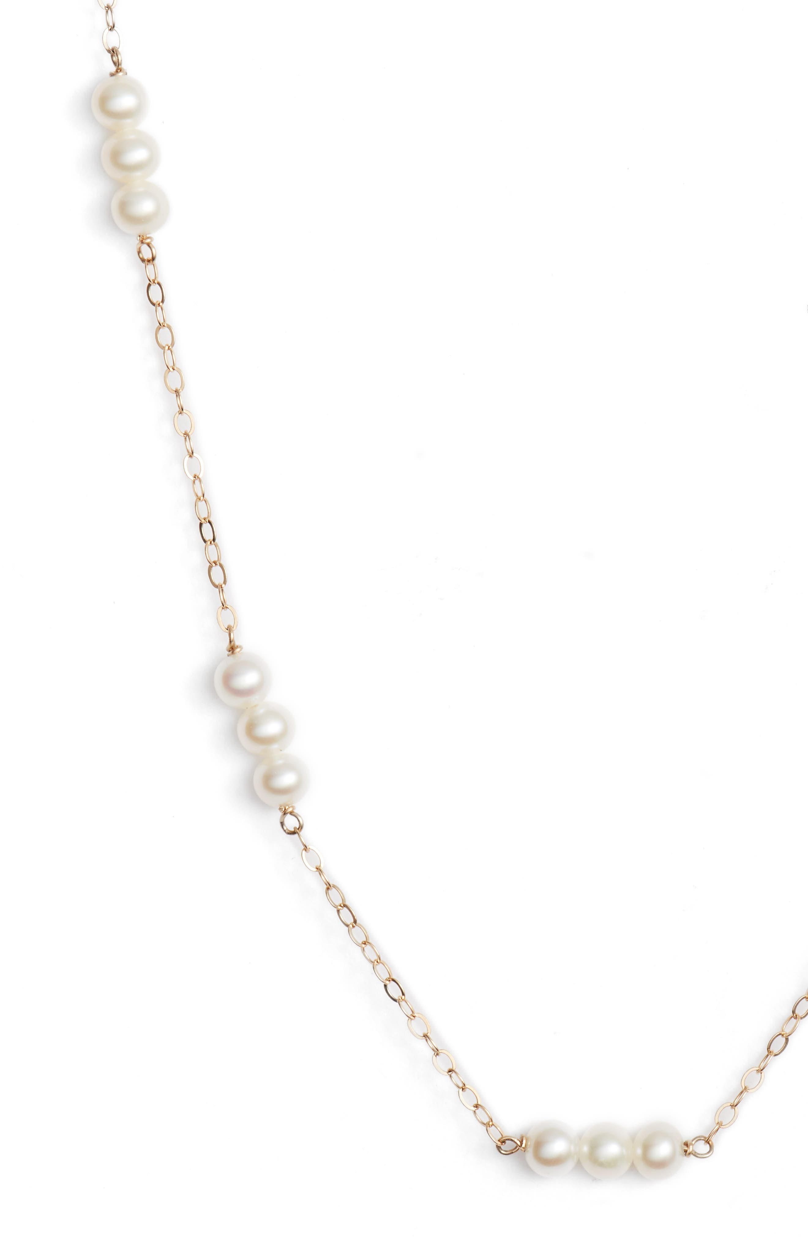 Pearl Triplet Necklace,                             Alternate thumbnail 2, color,                             Yellow Gold/ White Pearl